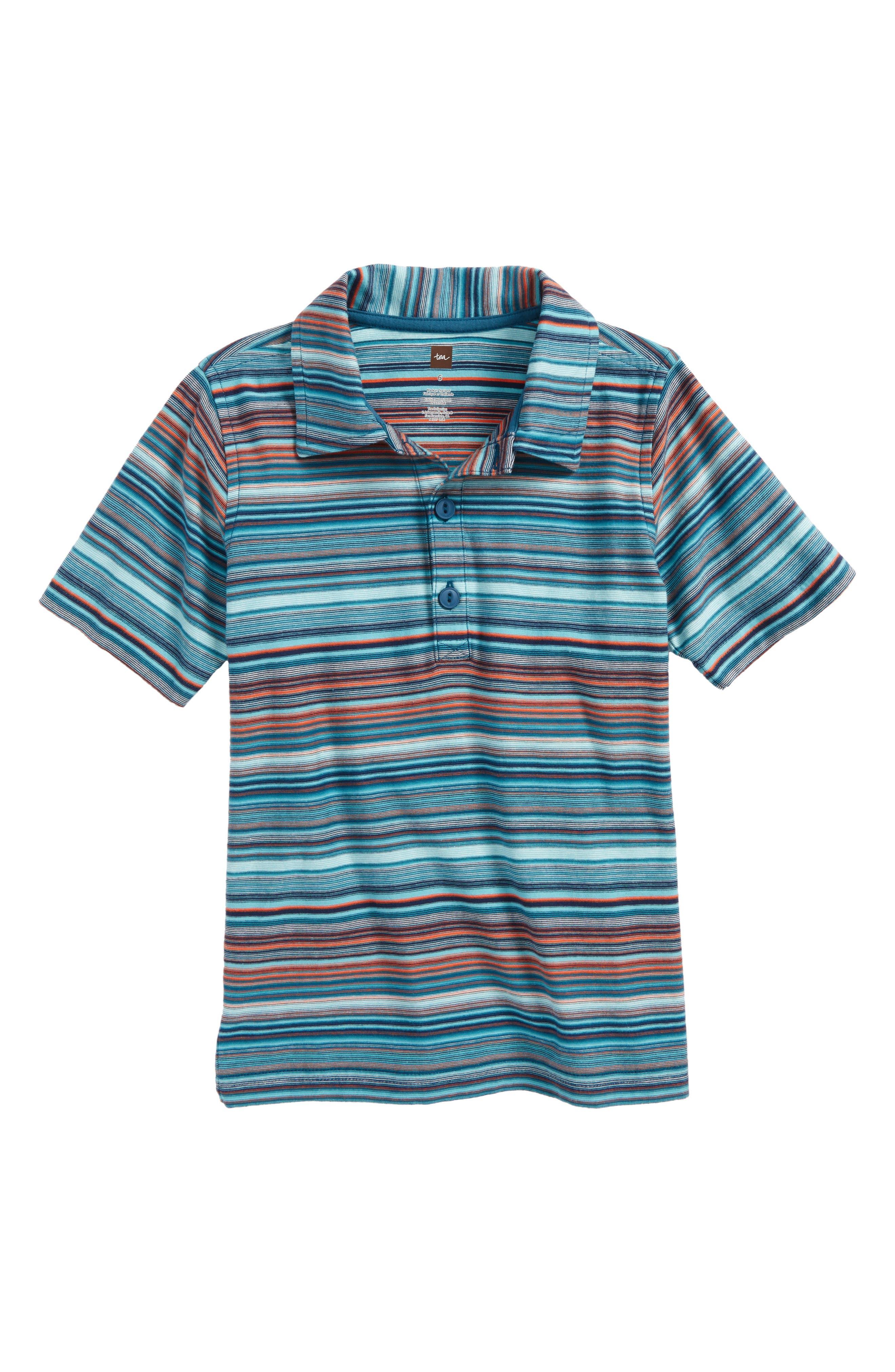 Stripe Polo,                         Main,                         color, Pagoda Blue