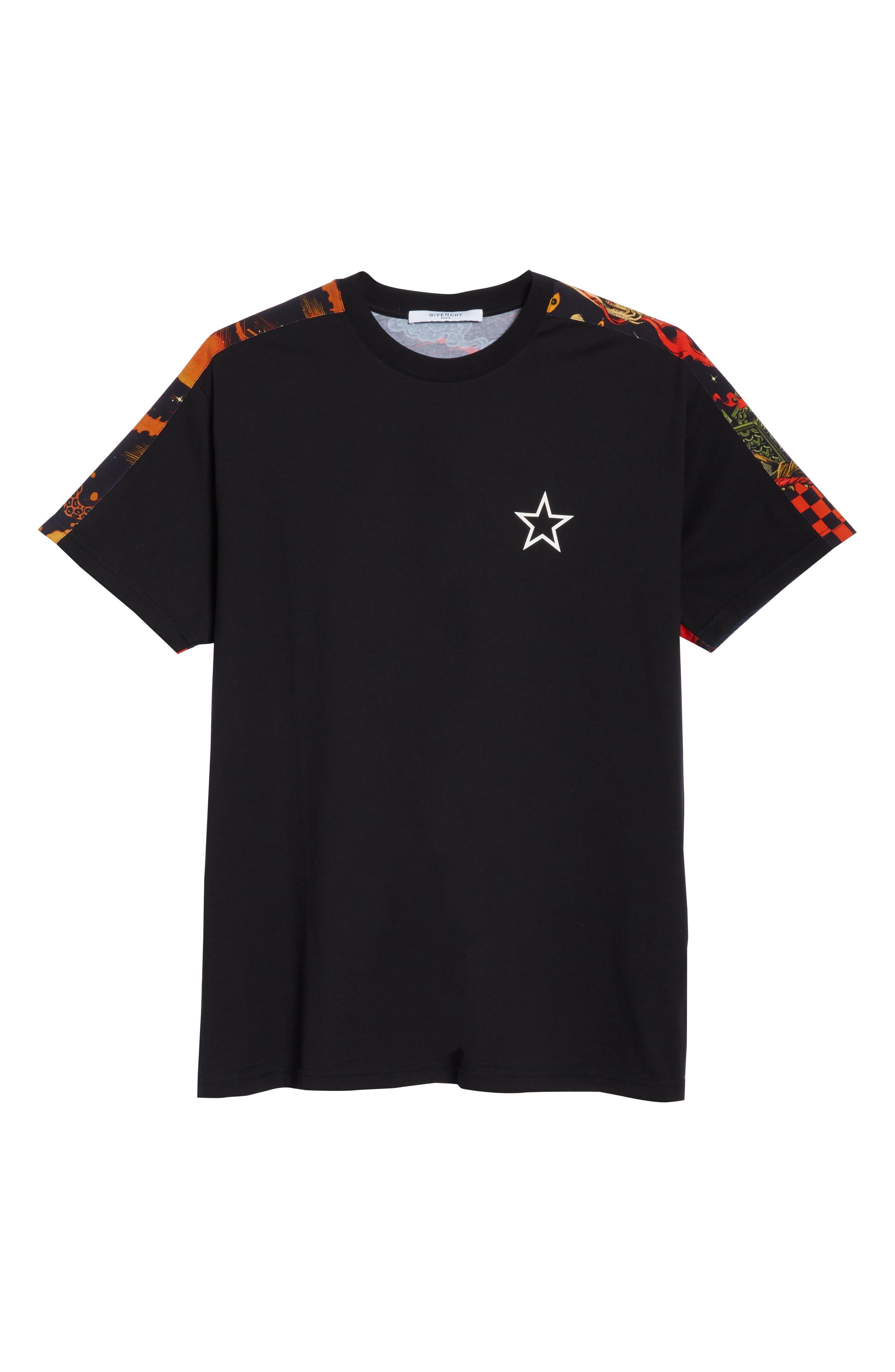 Fire Print T-Shirt,                             Alternate thumbnail 6, color,                             Black