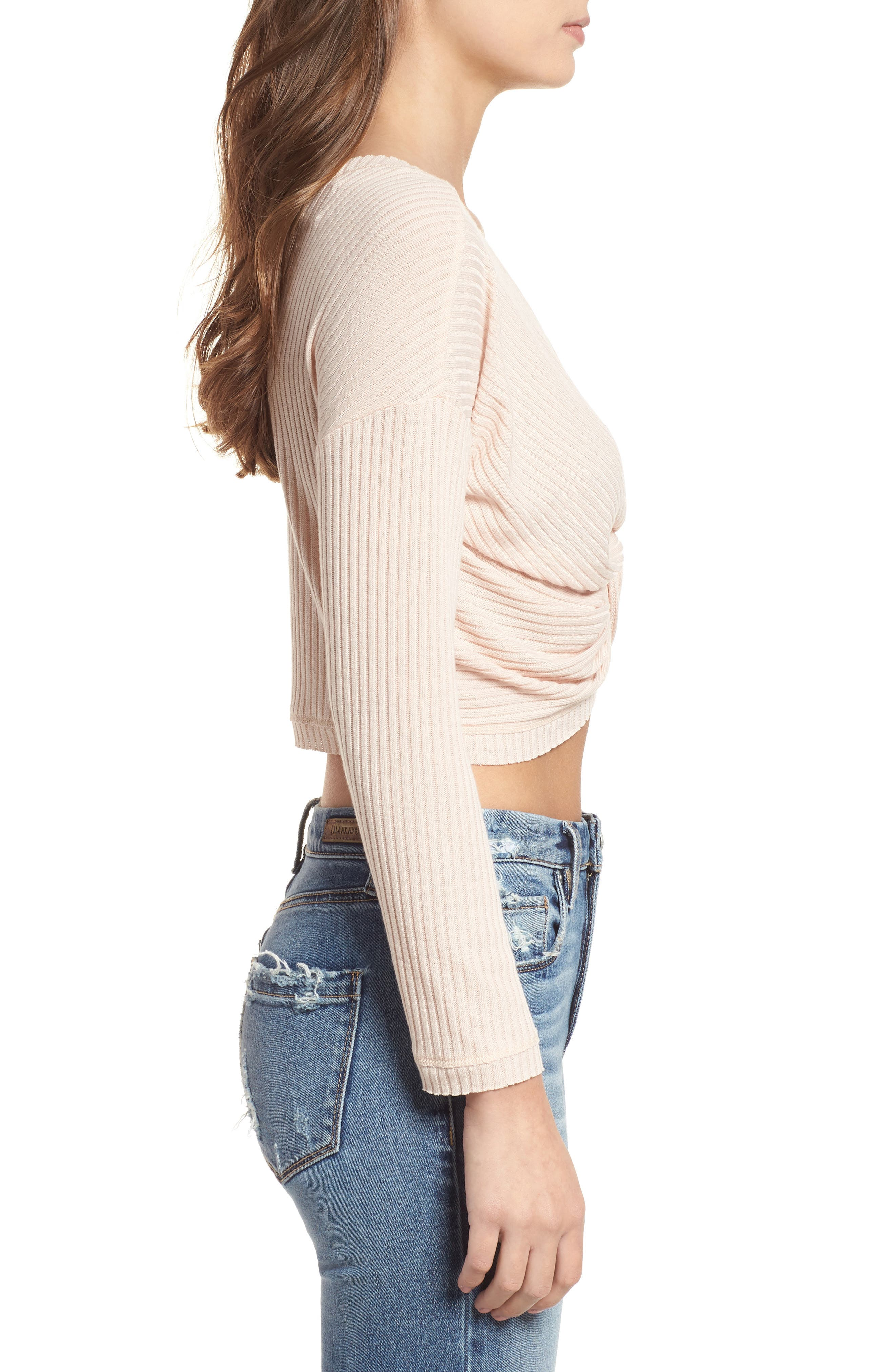 Twist Front Cropped Top,                             Alternate thumbnail 3, color,                             Pale Pink