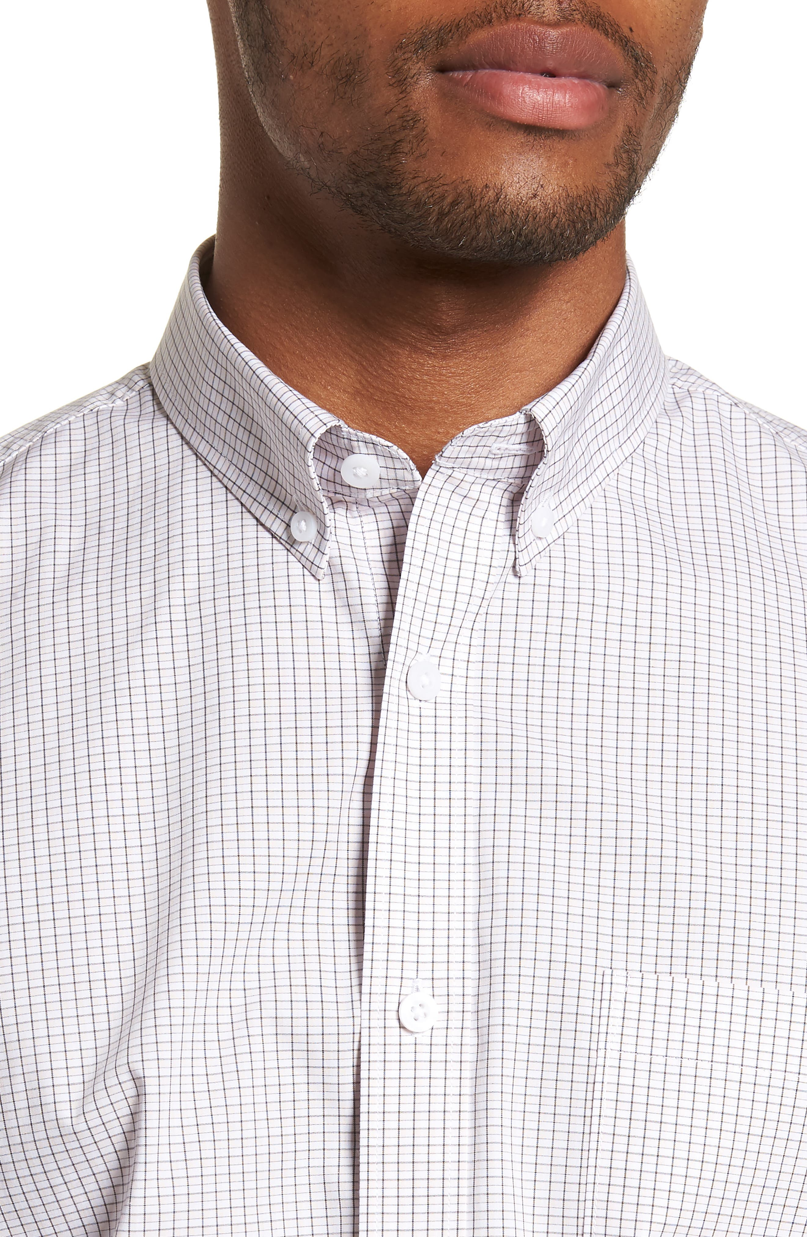 Tech-Smart Regular Fit Check Sport Shirt,                             Alternate thumbnail 2, color,                             Pink Breathe White Micro Grid