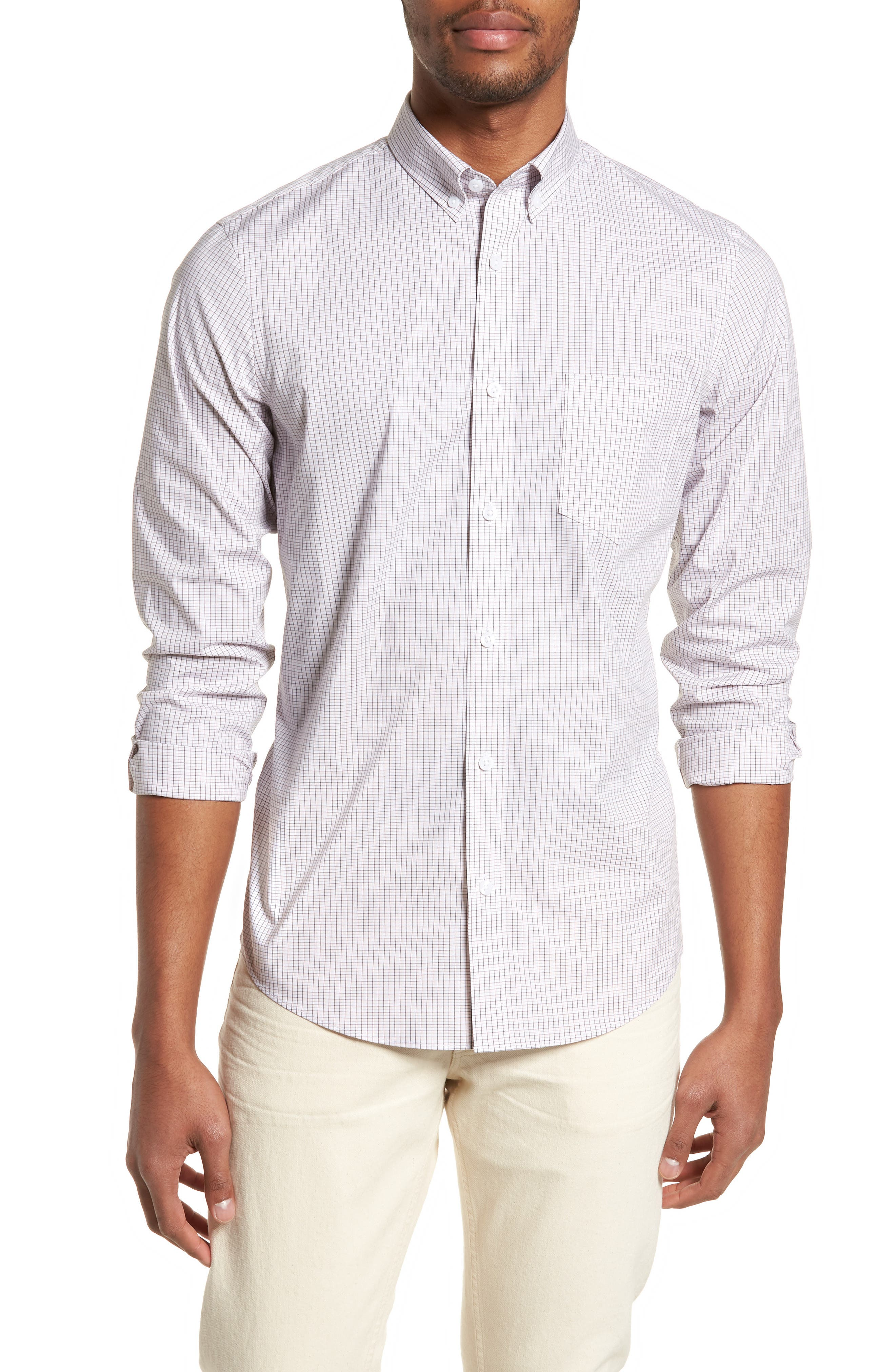Tech-Smart Regular Fit Check Sport Shirt,                             Main thumbnail 1, color,                             Pink Breathe White Micro Grid