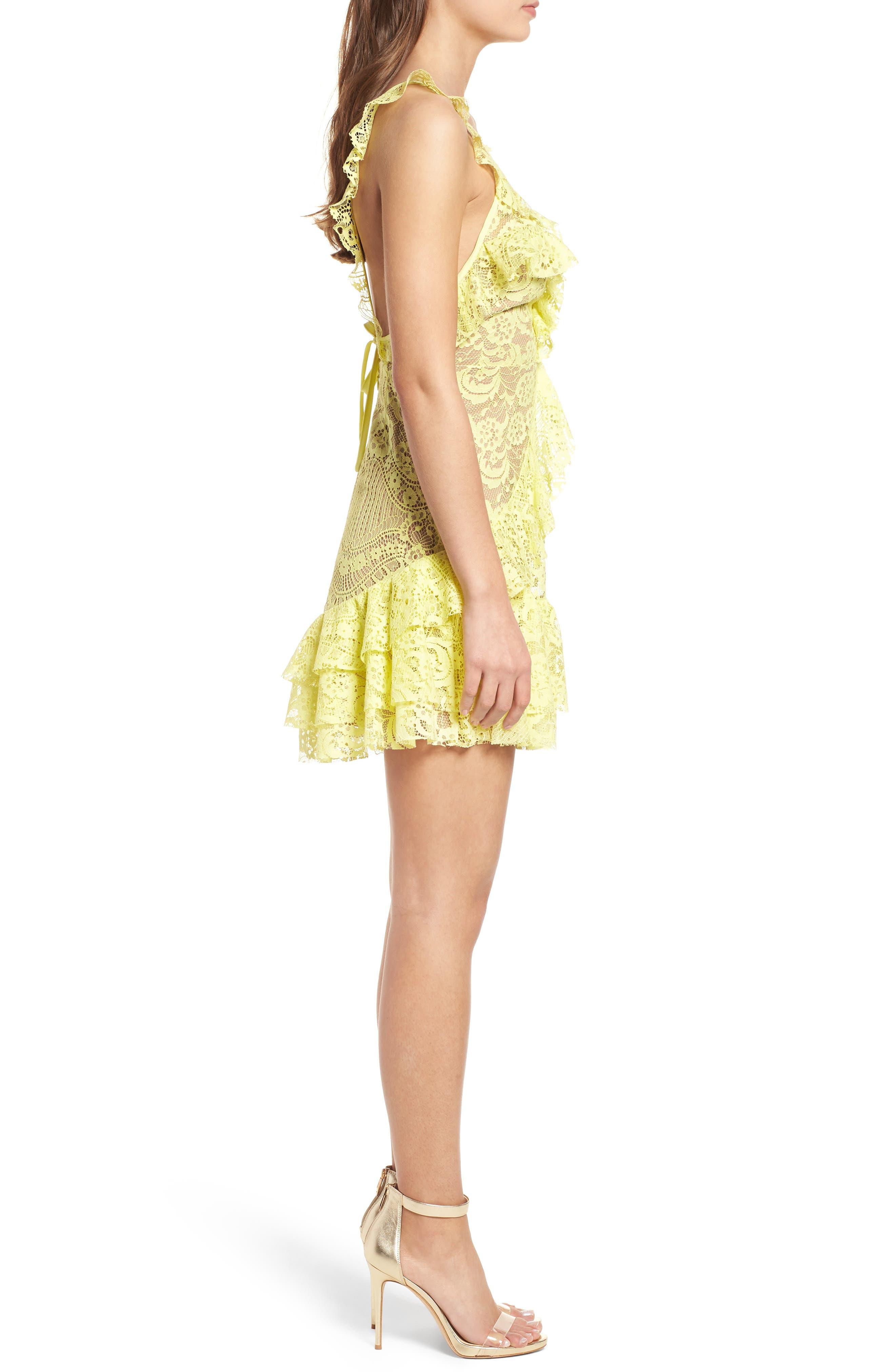 Tati Lace Minidress,                             Alternate thumbnail 3, color,                             Lemon