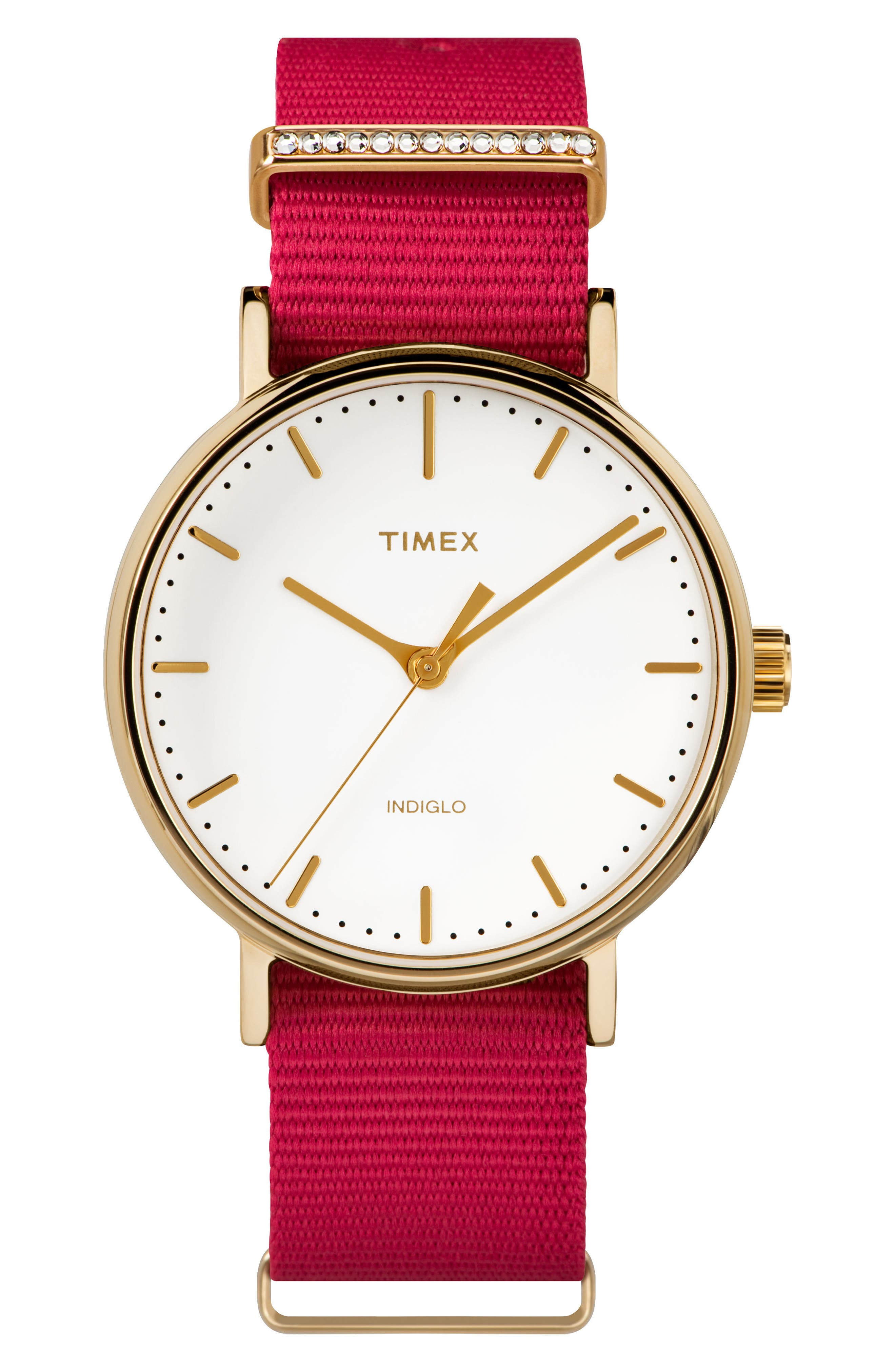 Fairfield Nylon Strap Watch, 37mm,                         Main,                         color, Fuchsia/ White/ Gold