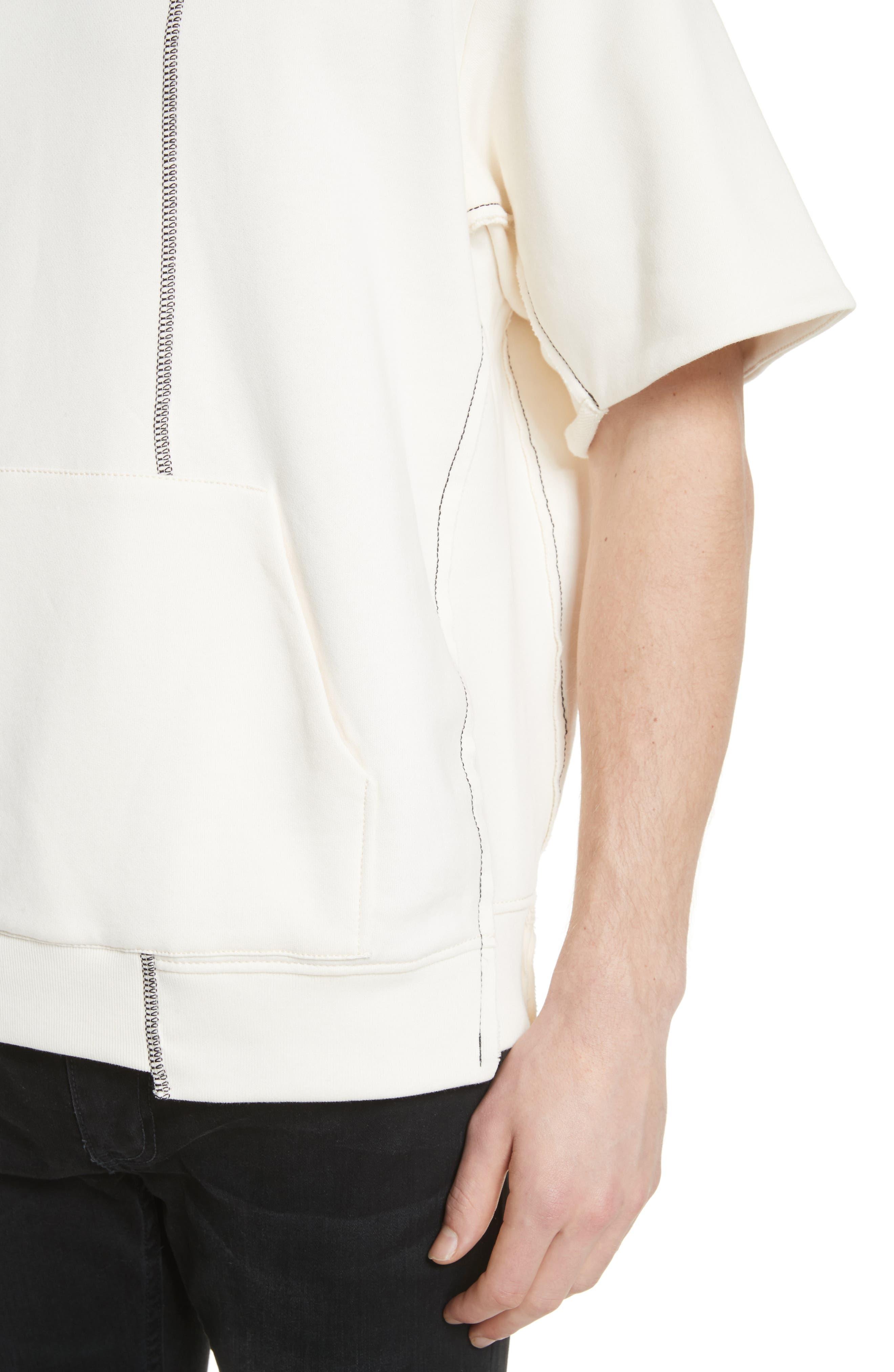 Reconstructed Short Sleeve Sweatshirt,                             Alternate thumbnail 4, color,                             Ecru