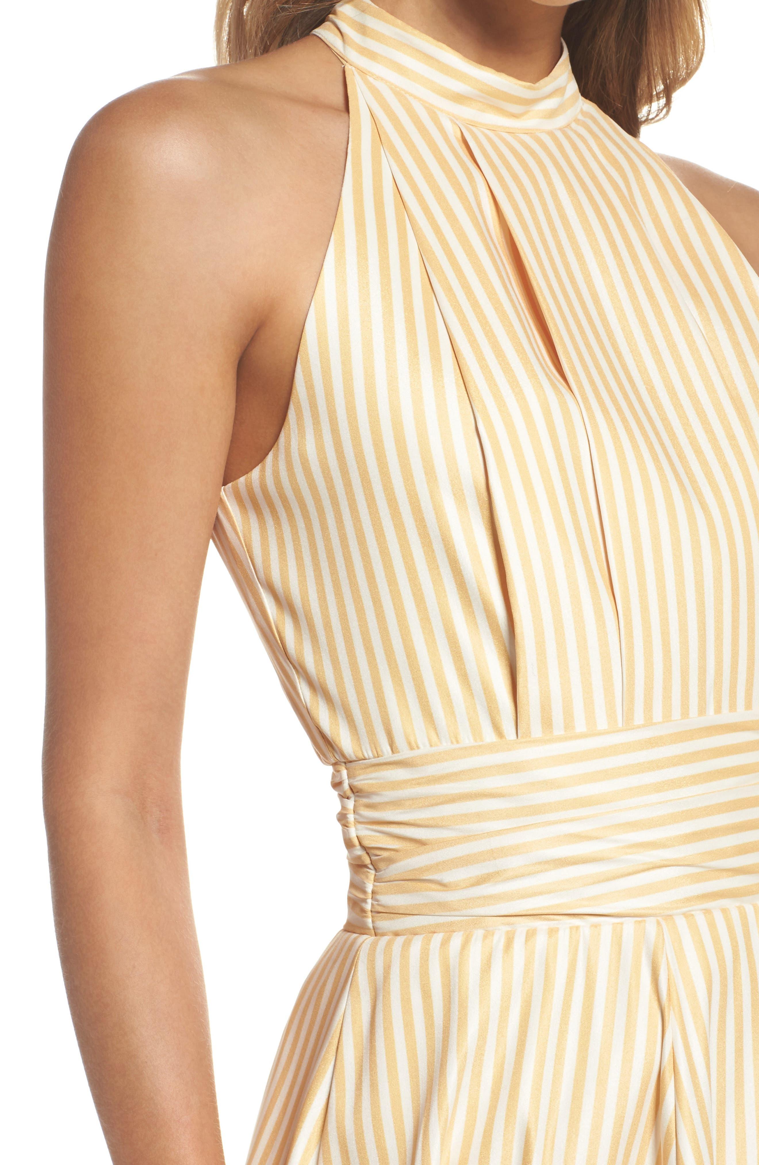 Believe in Me Halter Neck Party Dress,                             Alternate thumbnail 5, color,                             Honey Stripe