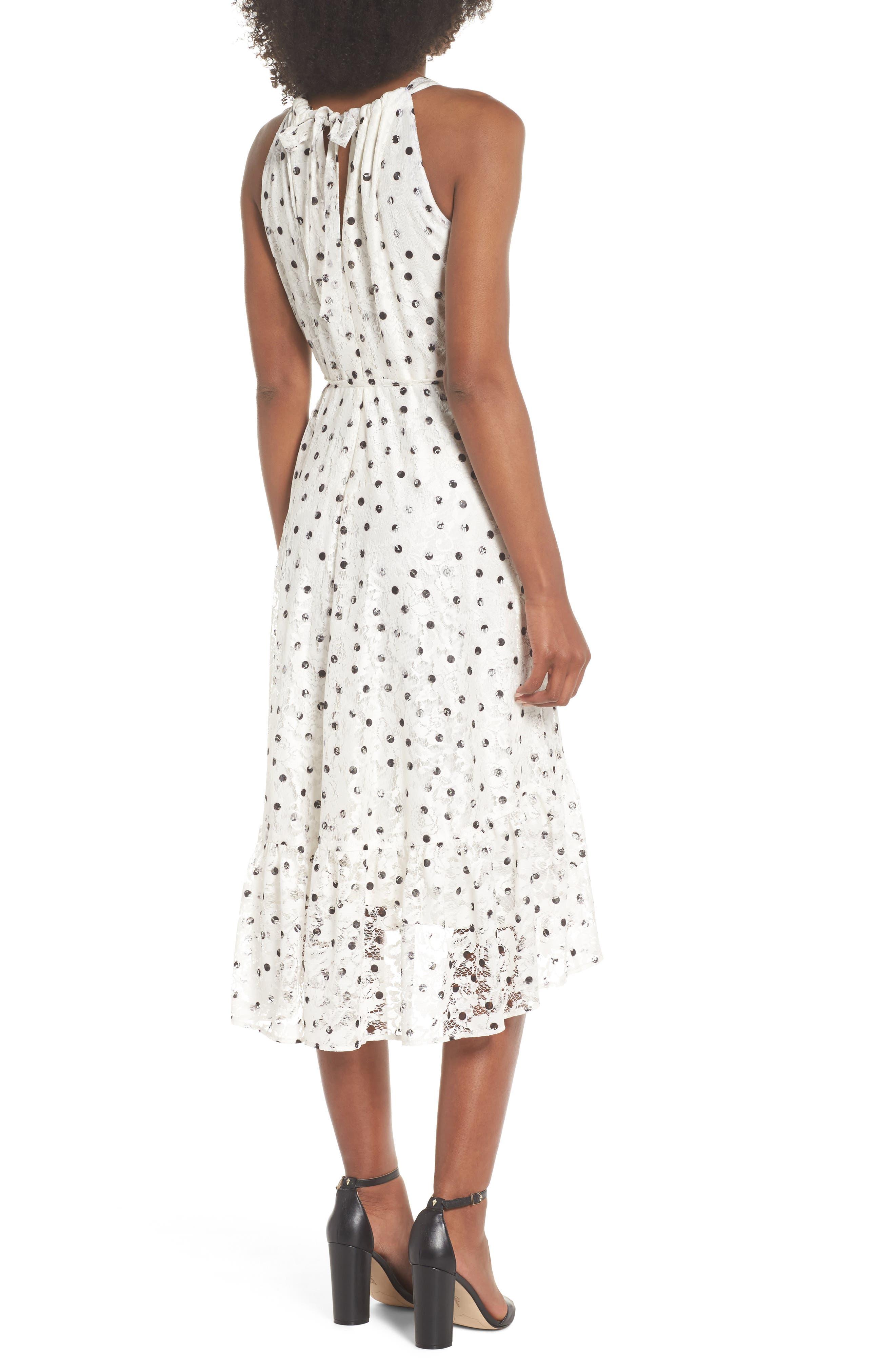 Polka Dot Lace Midi Dress,                             Alternate thumbnail 2, color,                             Ivory/ Black