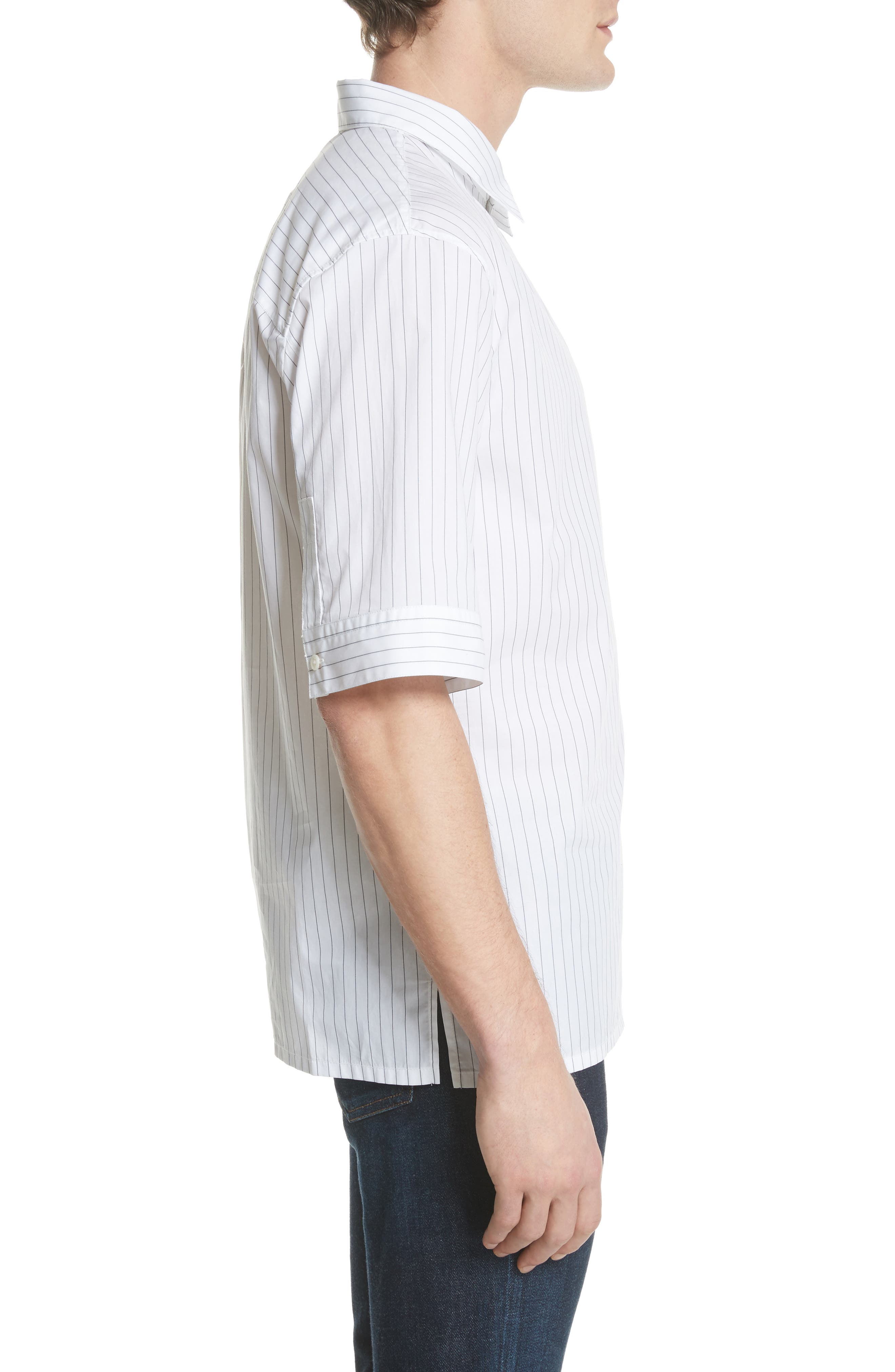 Elongated Placket Stripe Woven Shirt,                             Alternate thumbnail 4, color,                             White