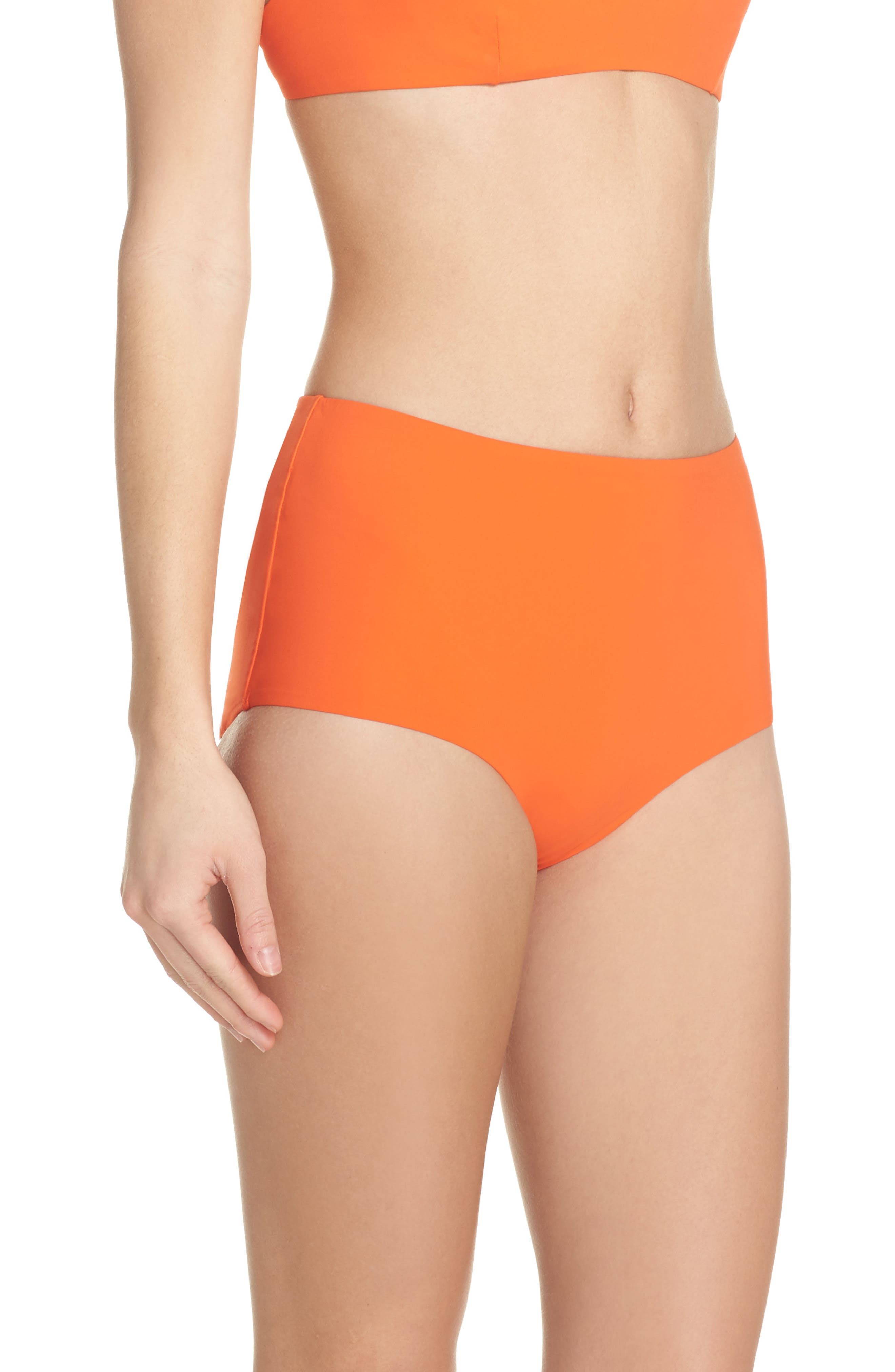 Marina High Waist Bikini Bottoms,                             Alternate thumbnail 3, color,                             Sweet Tangerine