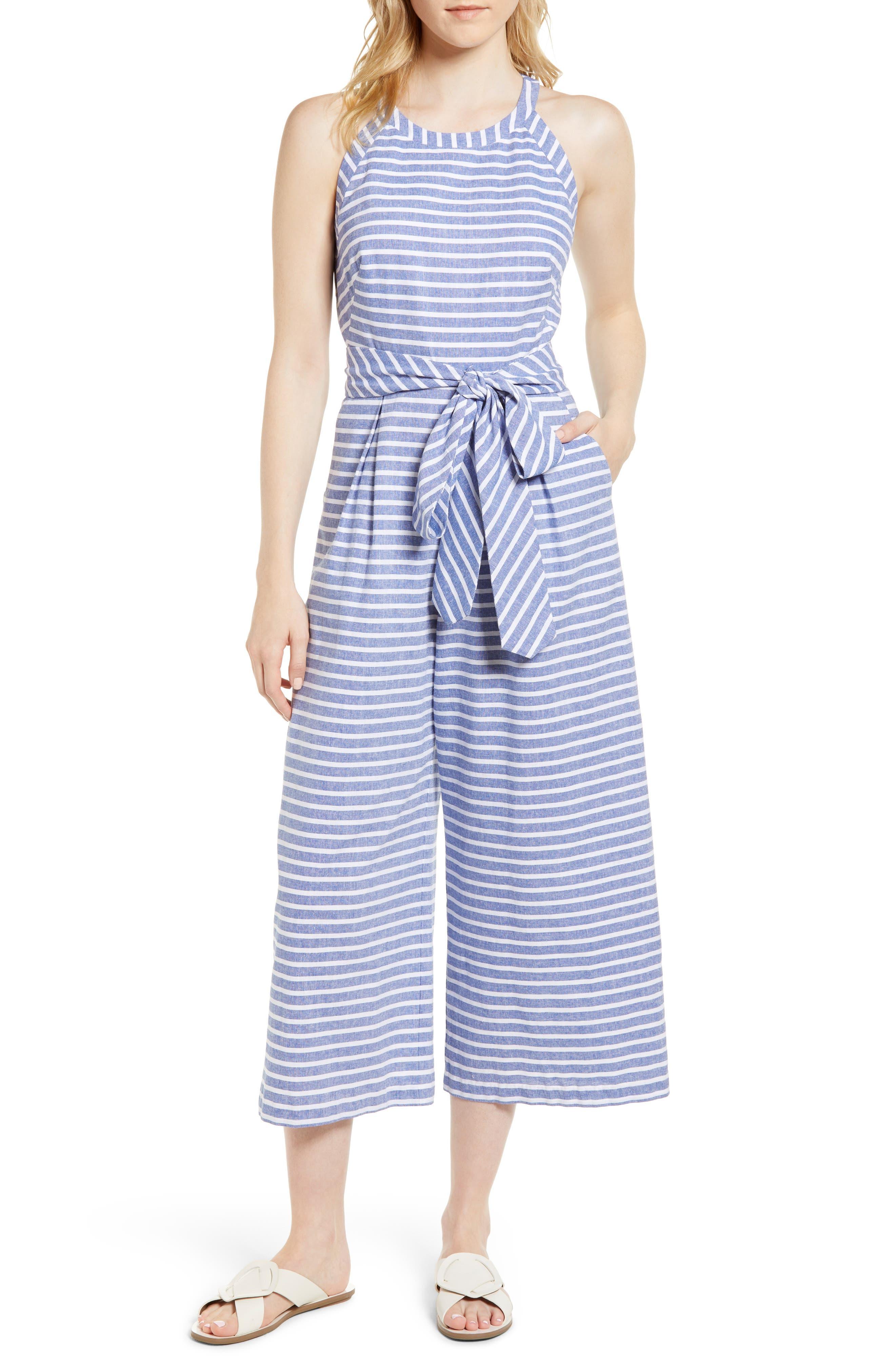 Stripe Wide Leg Jumpsuit,                         Main,                         color, Navy