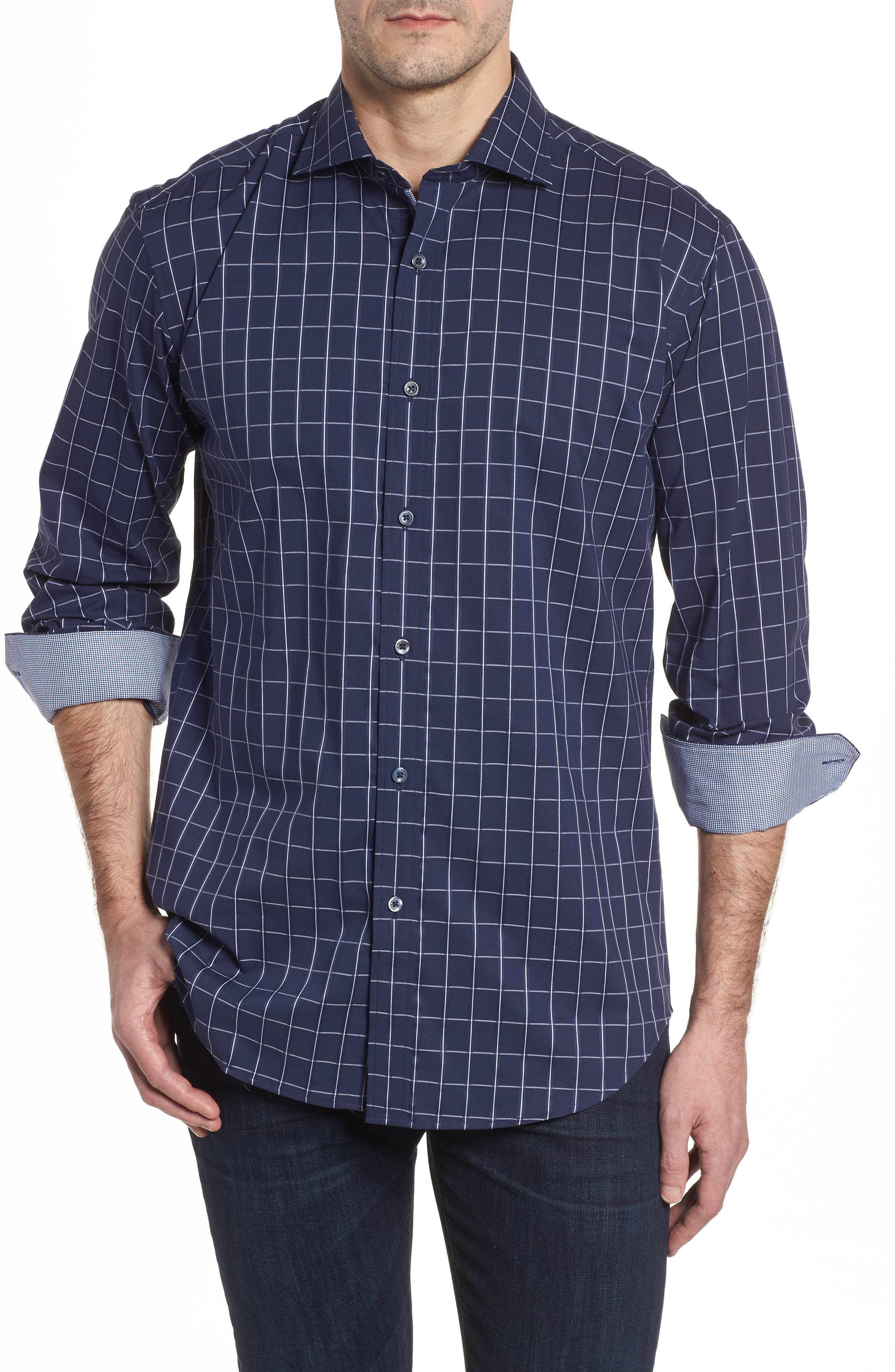 Shaped Fit Check Sport Shirt,                         Main,                         color, Midnight