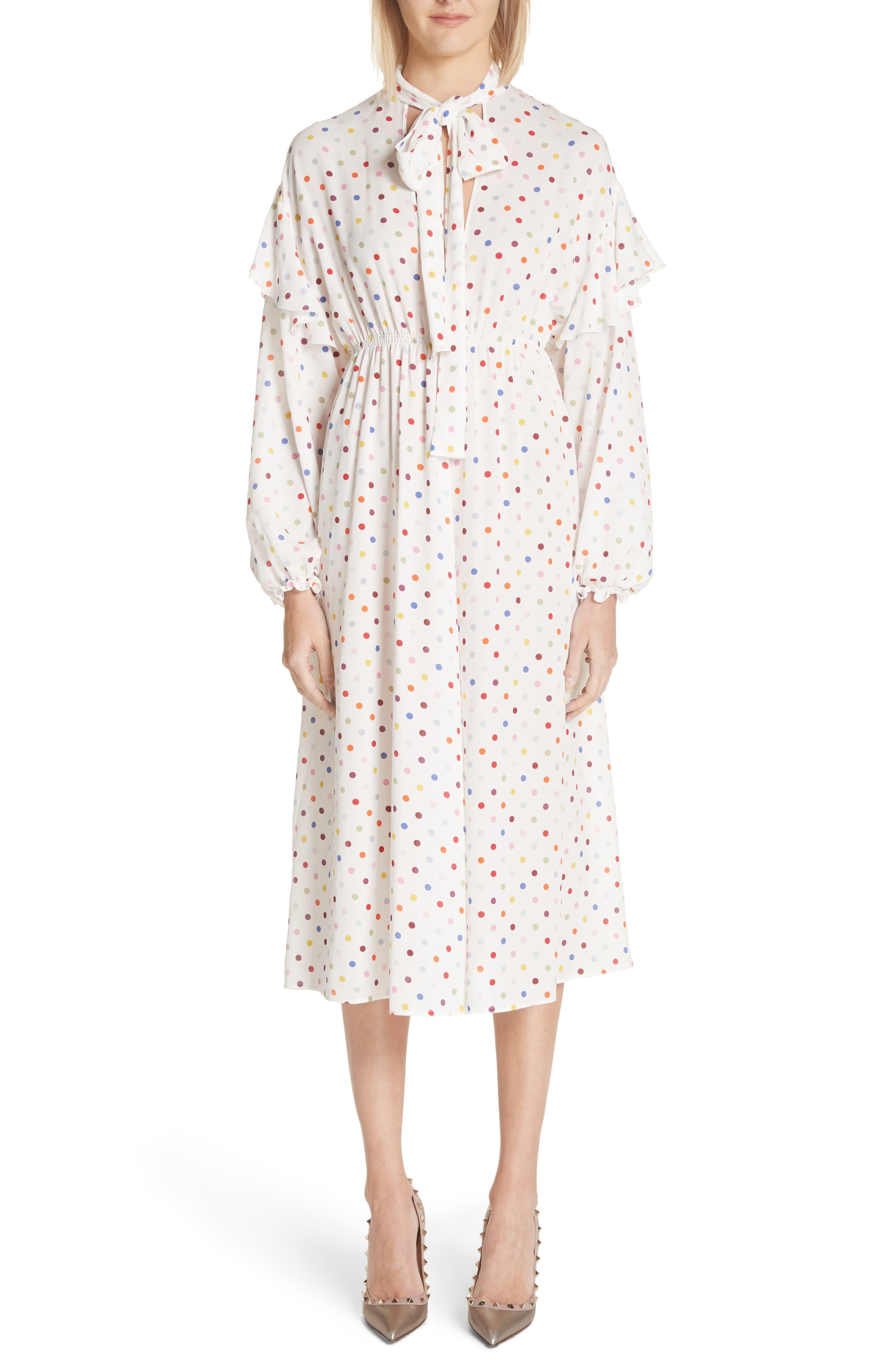 Polka Dot Silk Georgette Dress,                             Main thumbnail 1, color,                             Ivory