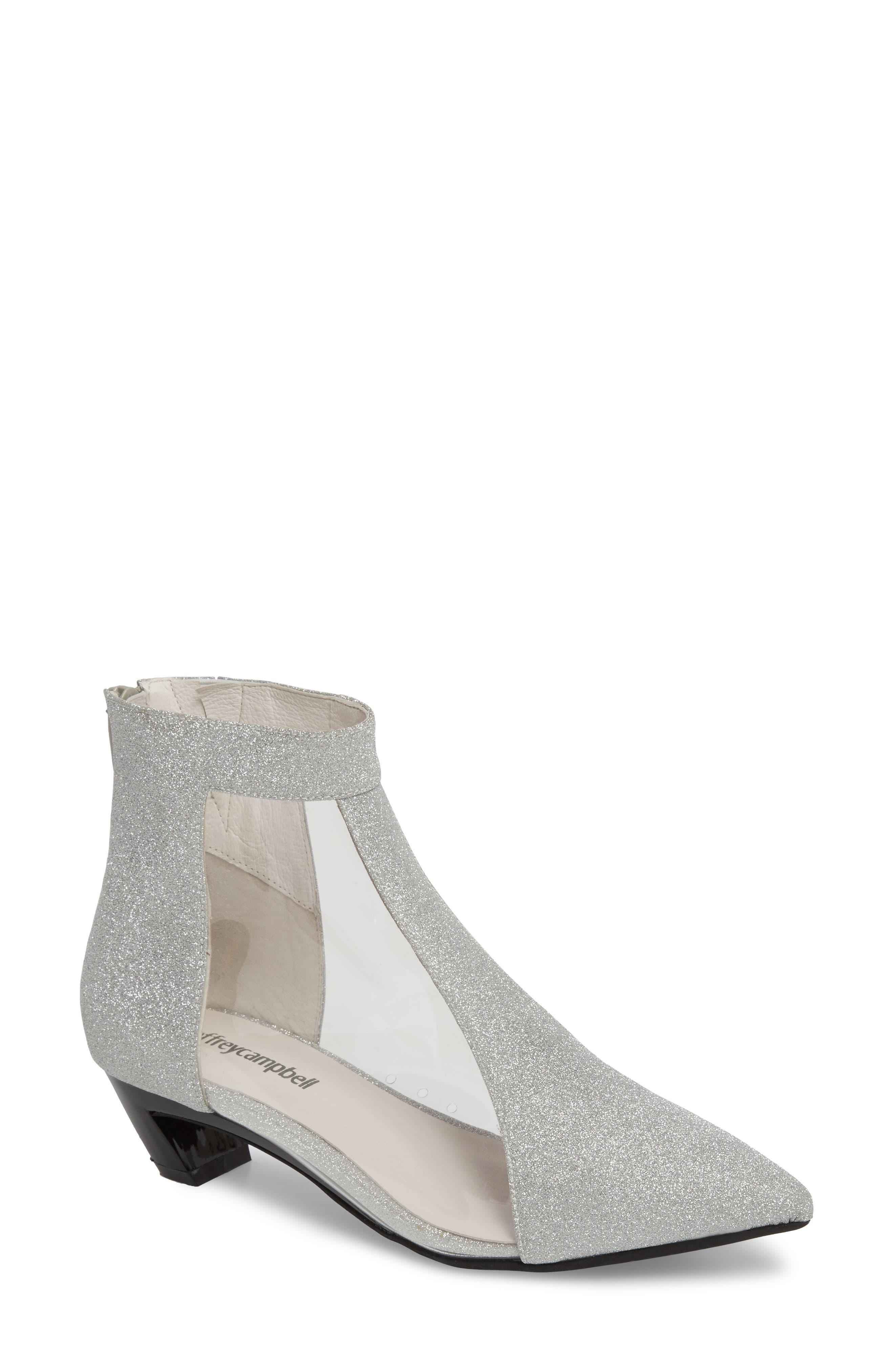 Mistress Bootie,                         Main,                         color, Silver Glitter Leather