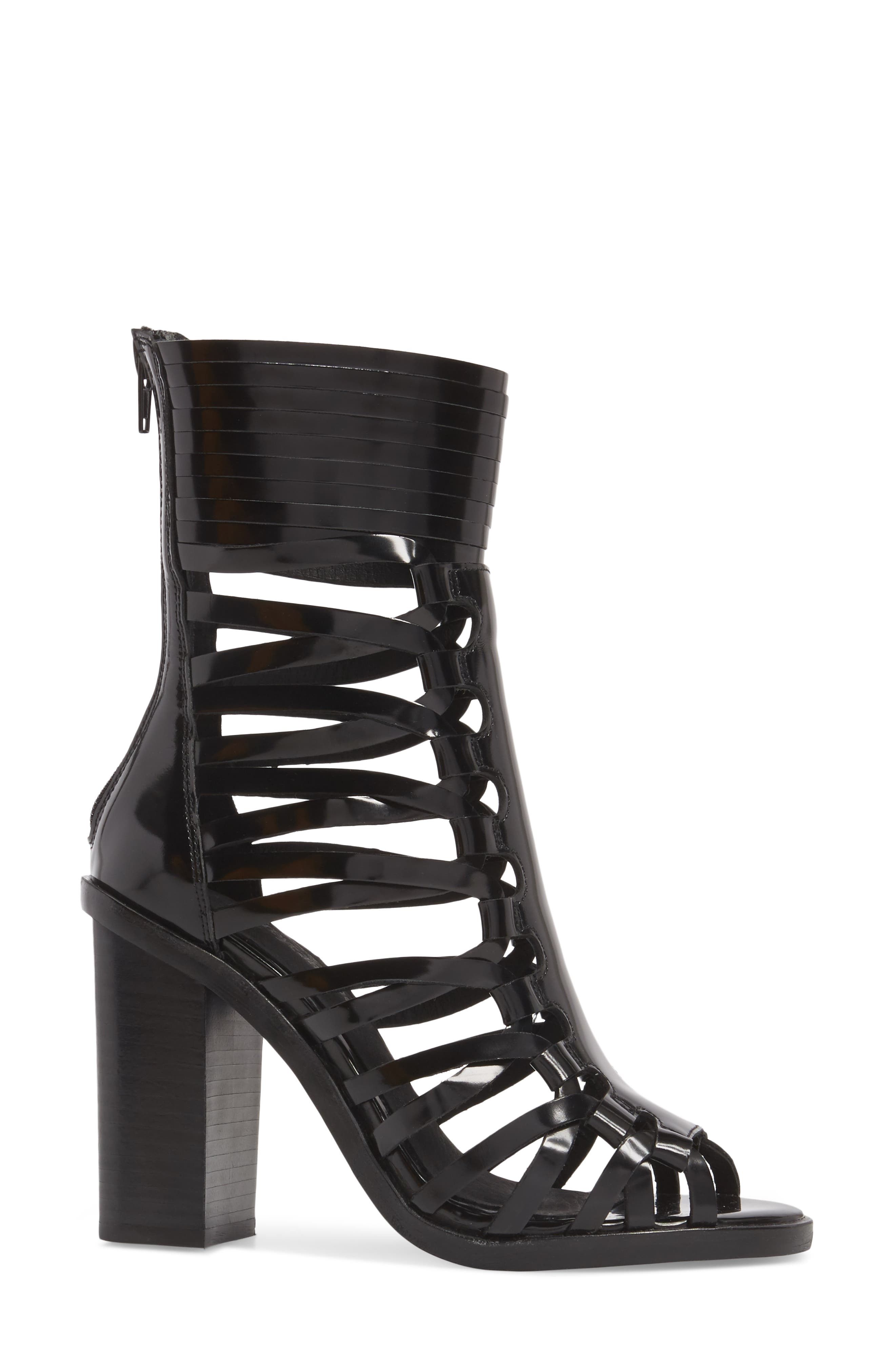 Deportivo Strappy Bootie,                             Alternate thumbnail 3, color,                             Black Leather