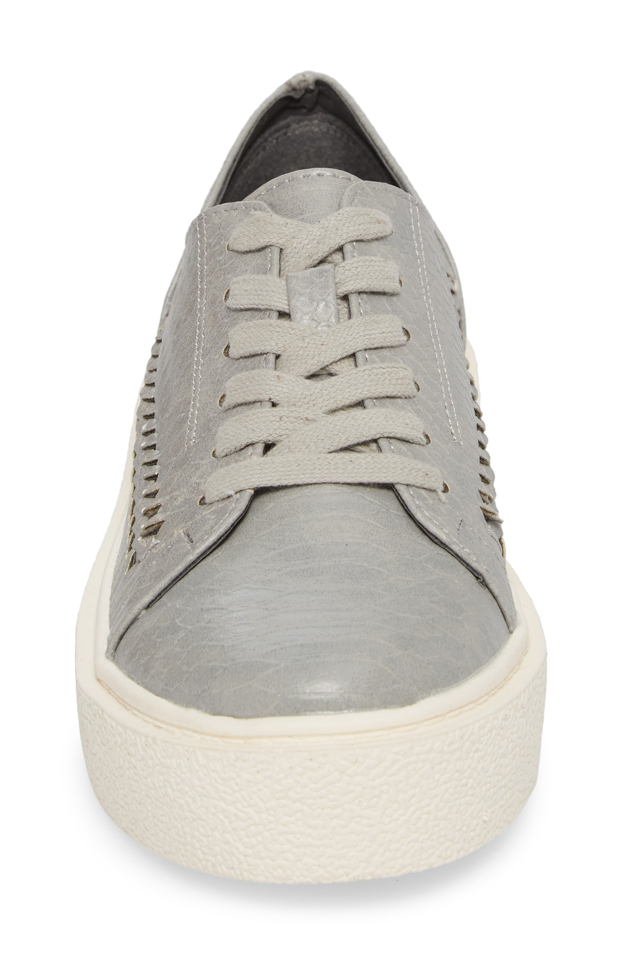 White Out Platform Sneaker,                             Alternate thumbnail 4, color,                             Grey Fabric