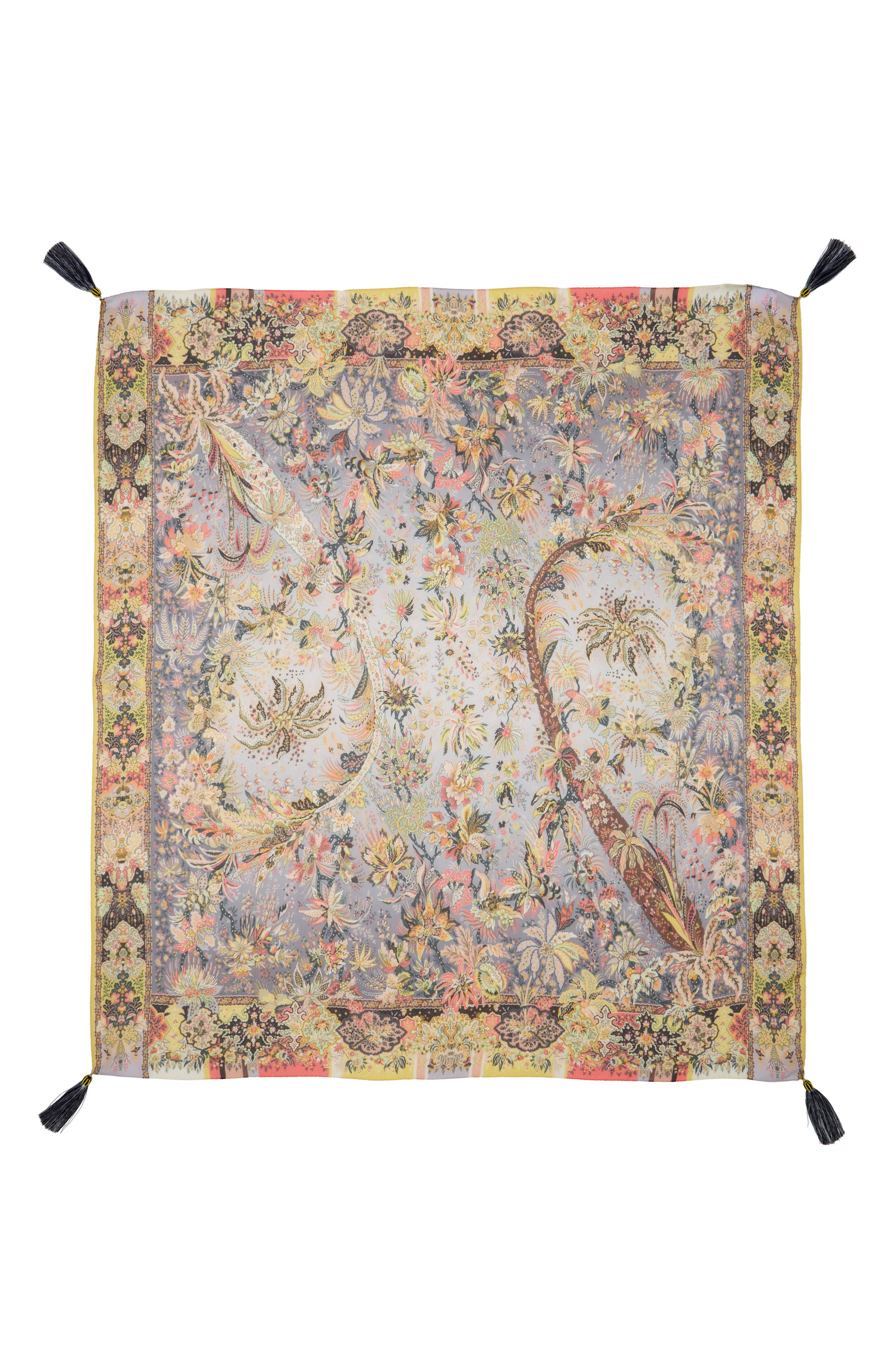 Bombay Print Silk Chiffon Scarf with Tassels,                         Main,                         color, Grey Multi