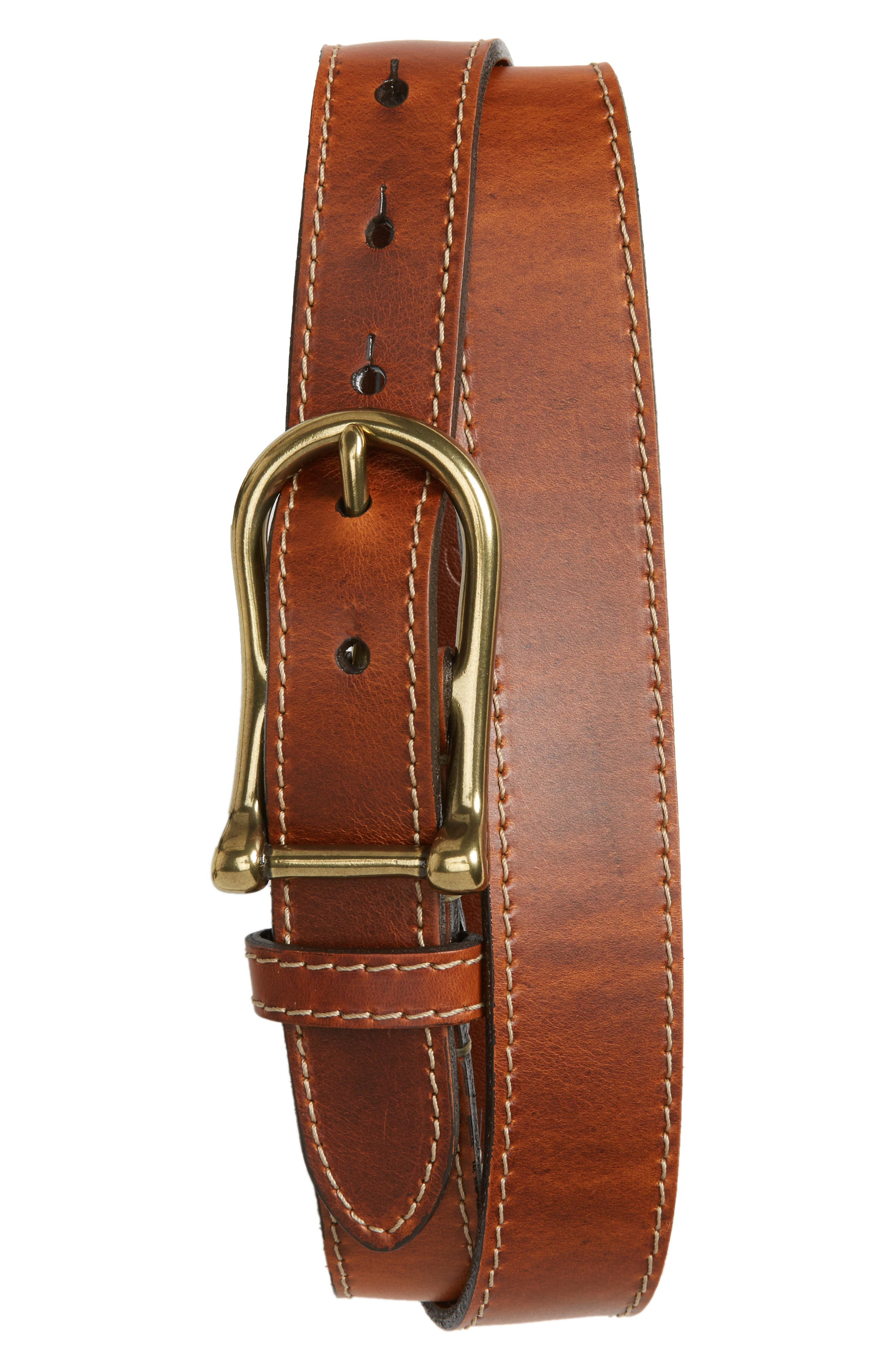Waxed Leather Belt,                         Main,                         color, Chestnut