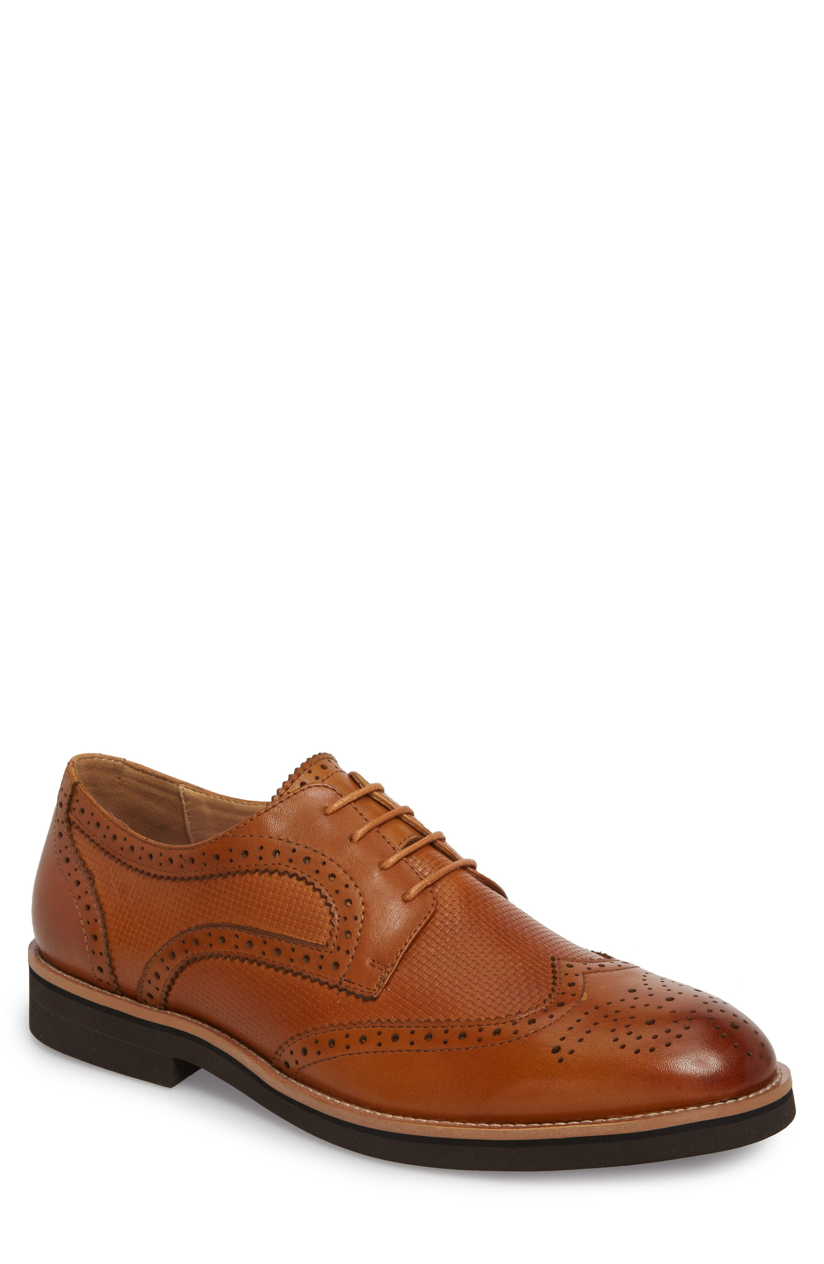 Cleave Embossed Wingtip,                             Main thumbnail 1, color,                             Cognac Leather