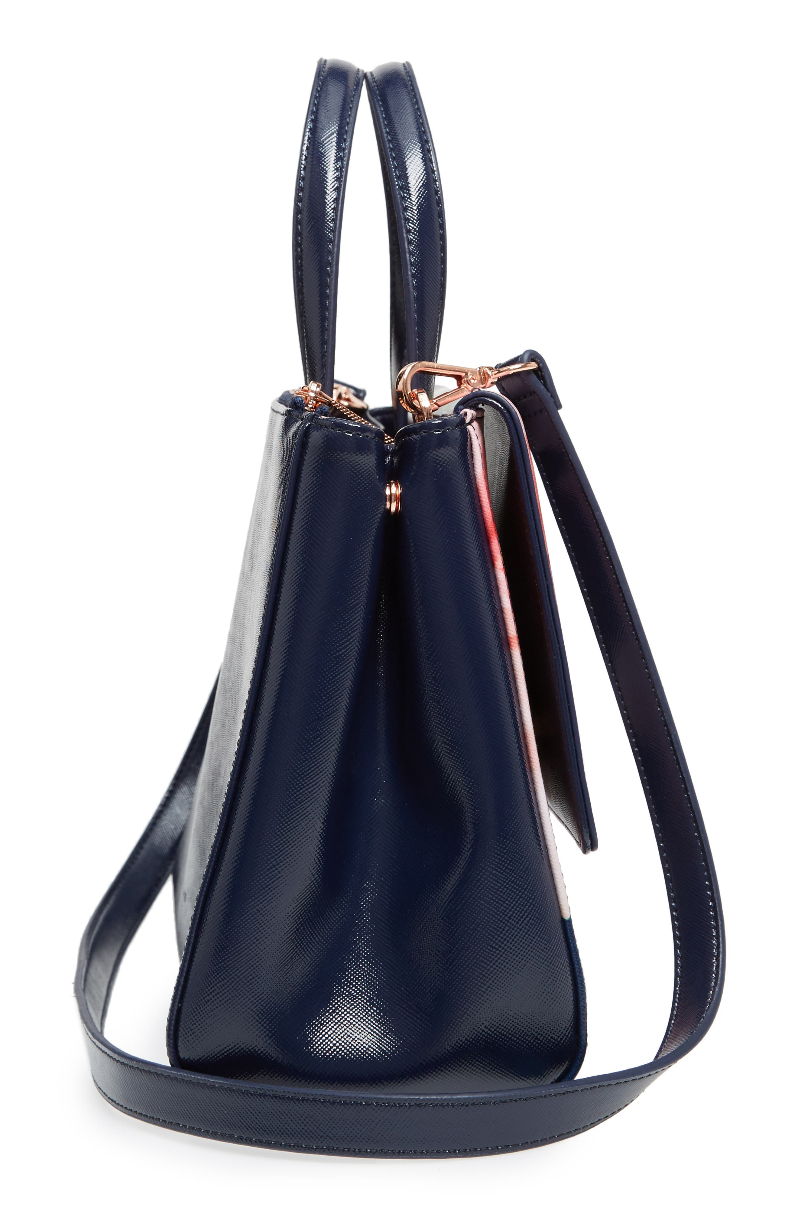 Peobe Chatsworth Bloom Faux Leather Satchel,                             Alternate thumbnail 5, color,                             Navy