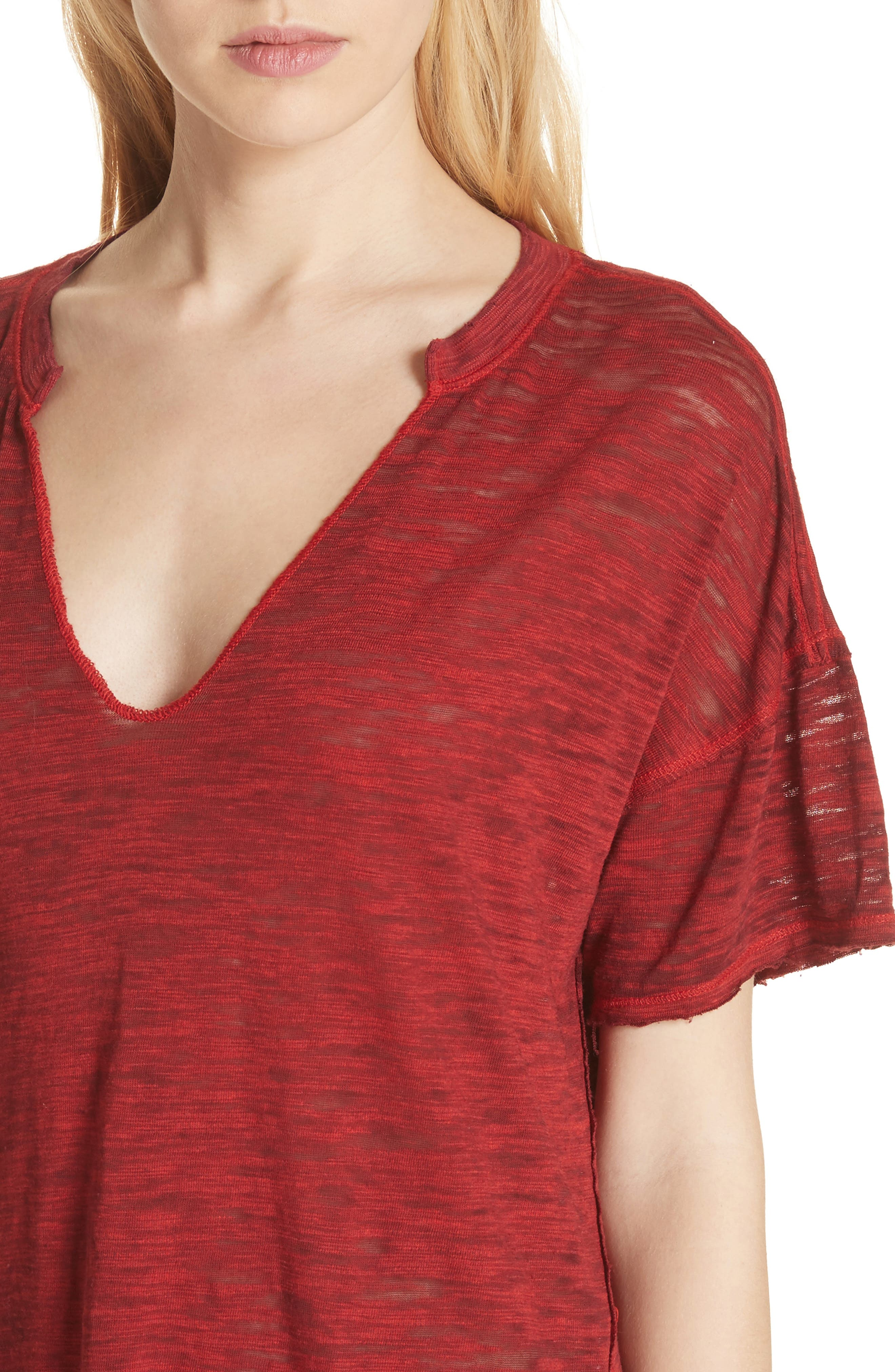 Maddie Burnout Tee,                             Alternate thumbnail 4, color,                             Red