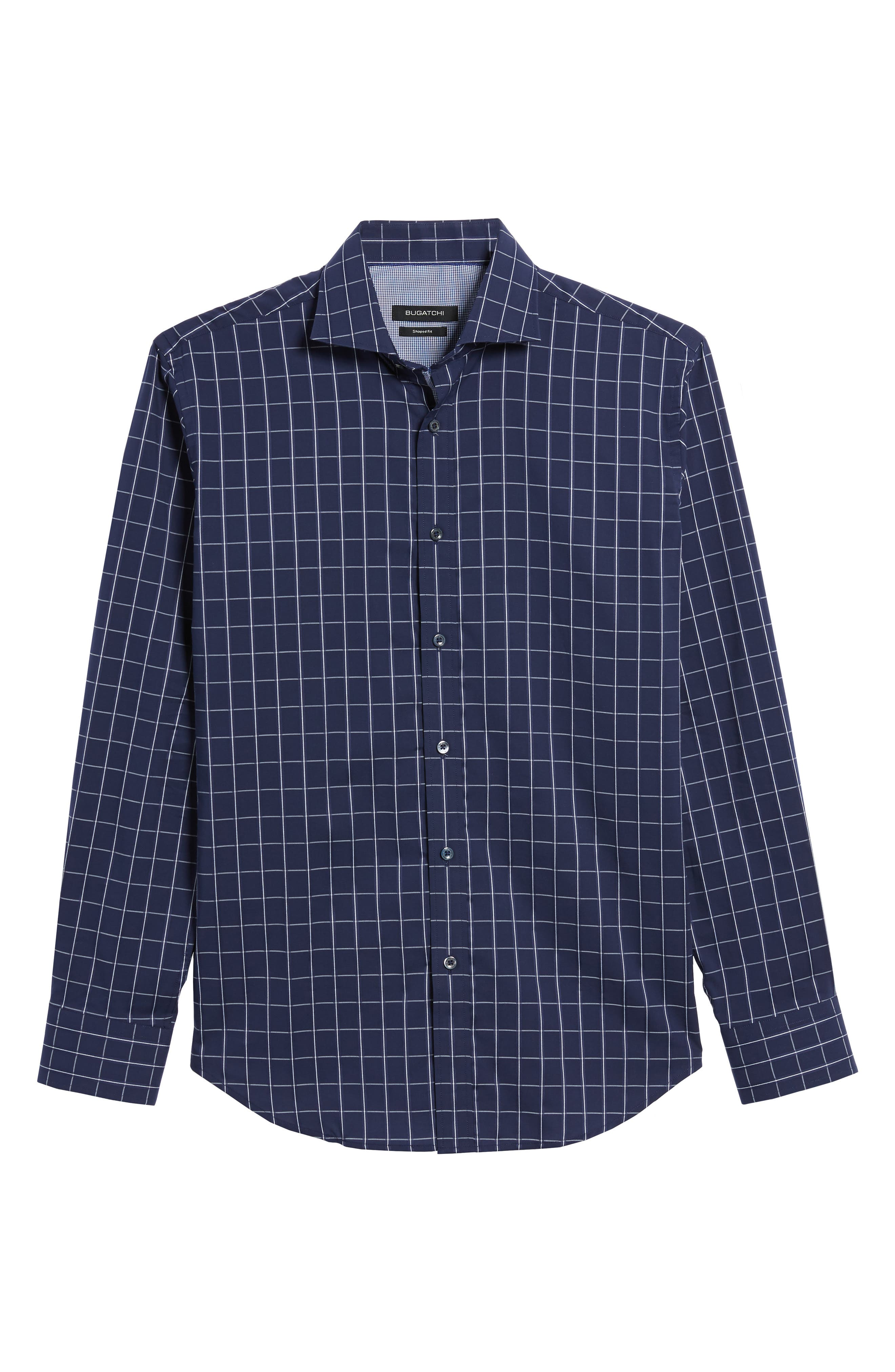Shaped Fit Check Sport Shirt,                             Alternate thumbnail 6, color,                             Midnight
