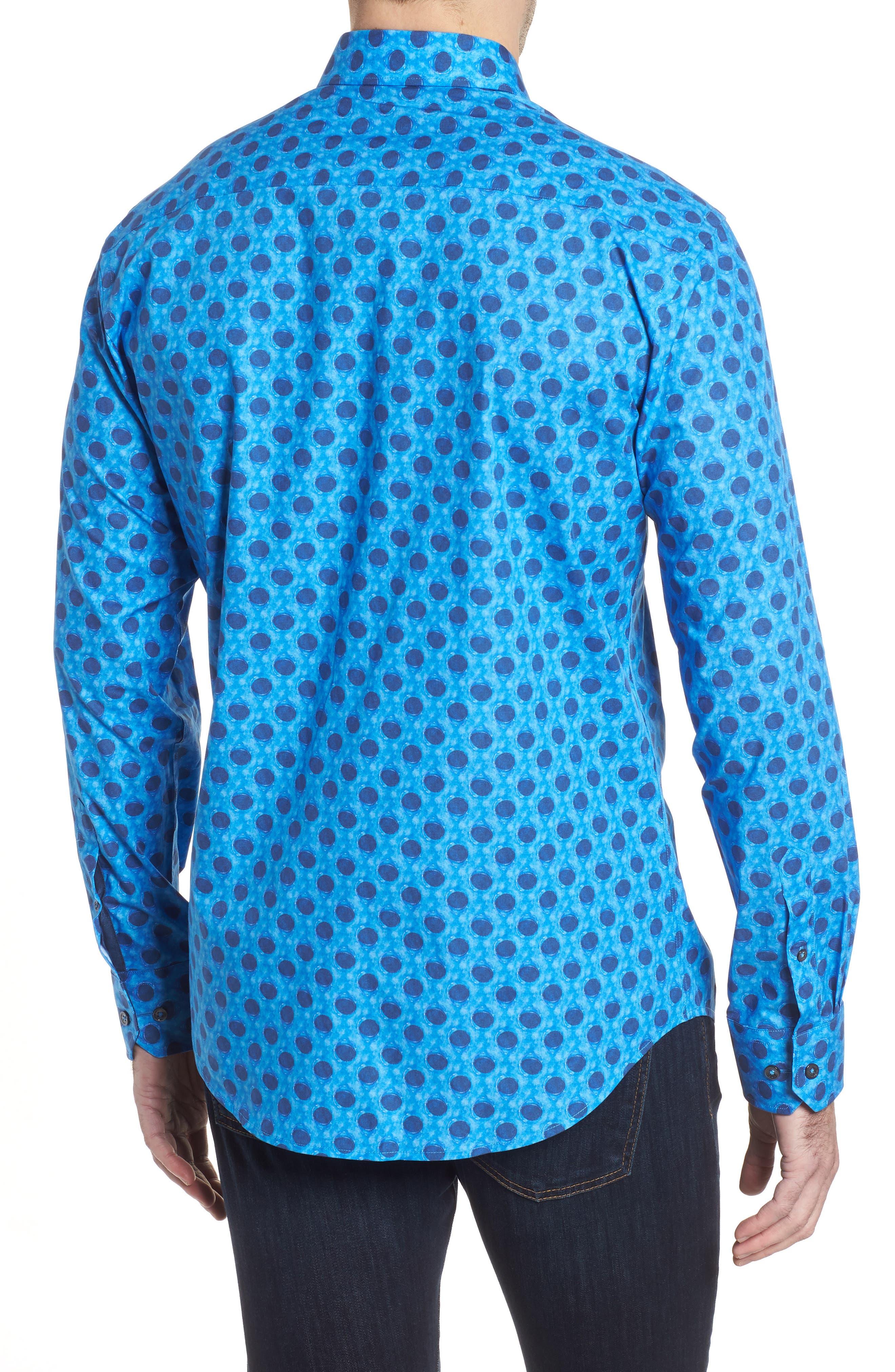 Shaped Fit Waning Moon Print Sport Shirt,                             Alternate thumbnail 2, color,                             Cobalt