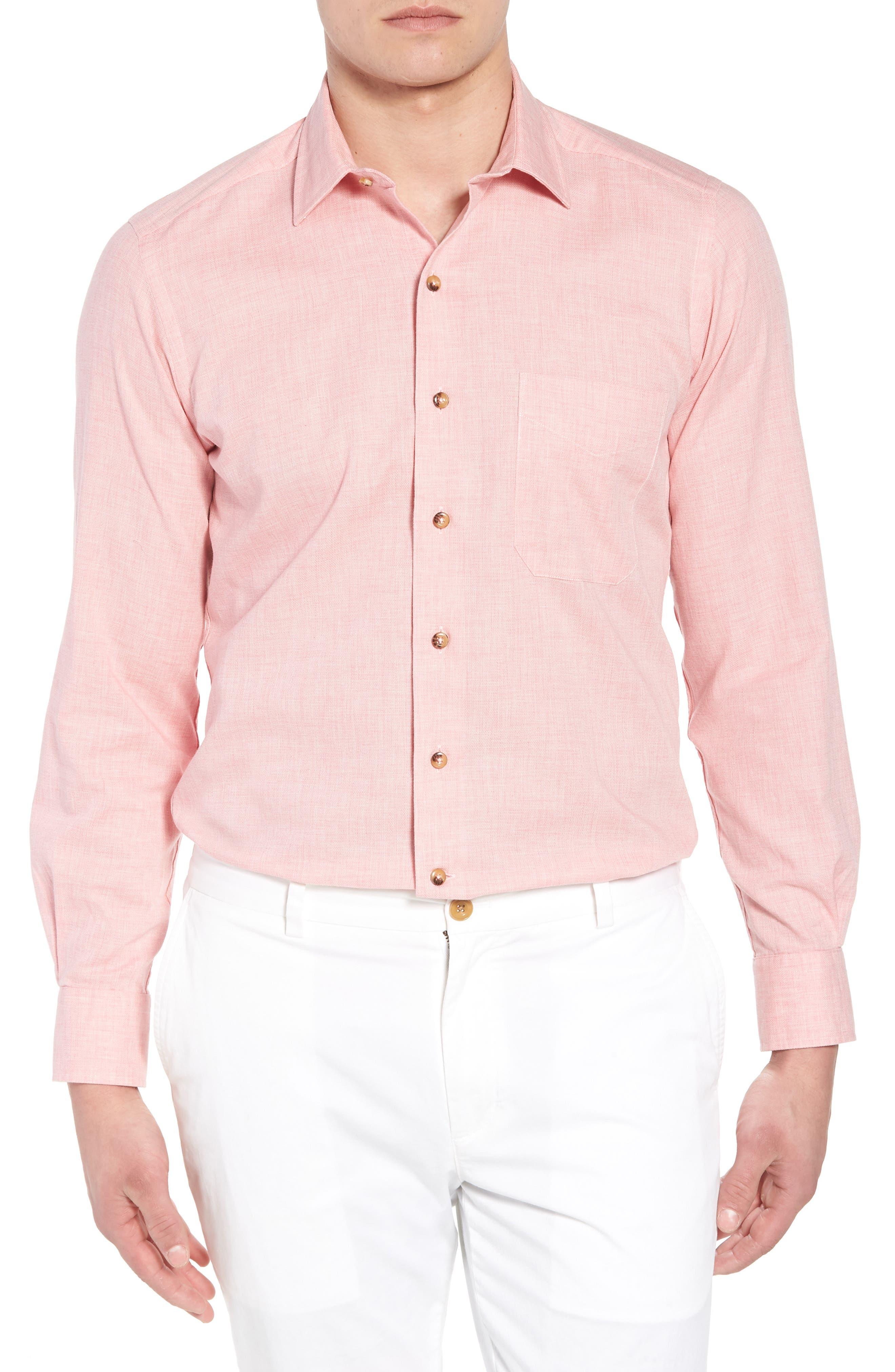 Regular Fit Garment Washed Mélange Sport Shirt,                         Main,                         color, Pink