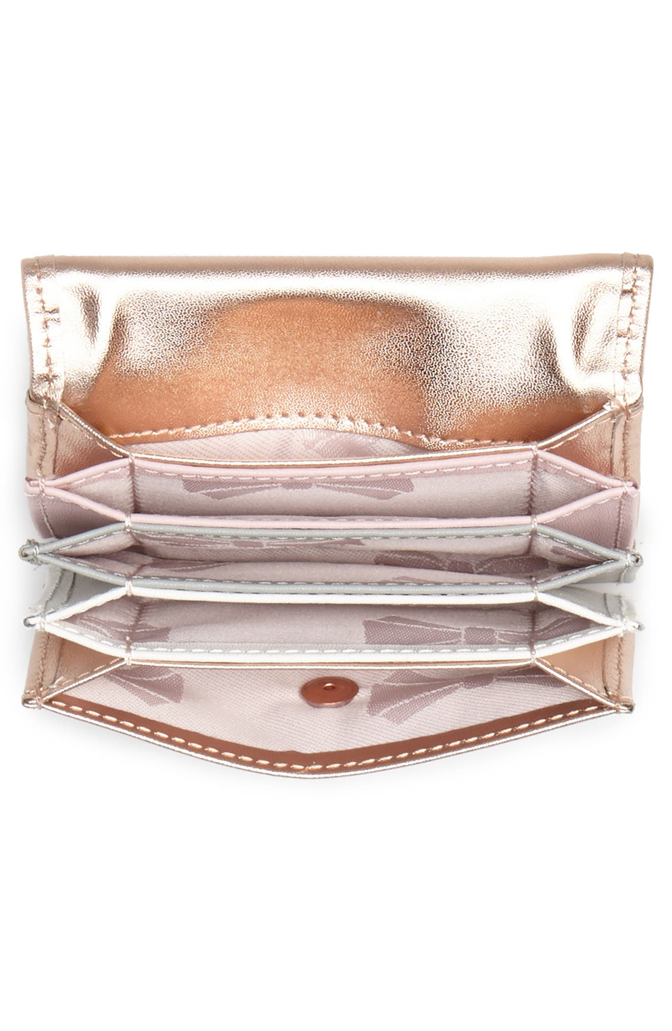 Niccole Accordion Leather Card Case,                             Alternate thumbnail 2, color,                             Rose Gold
