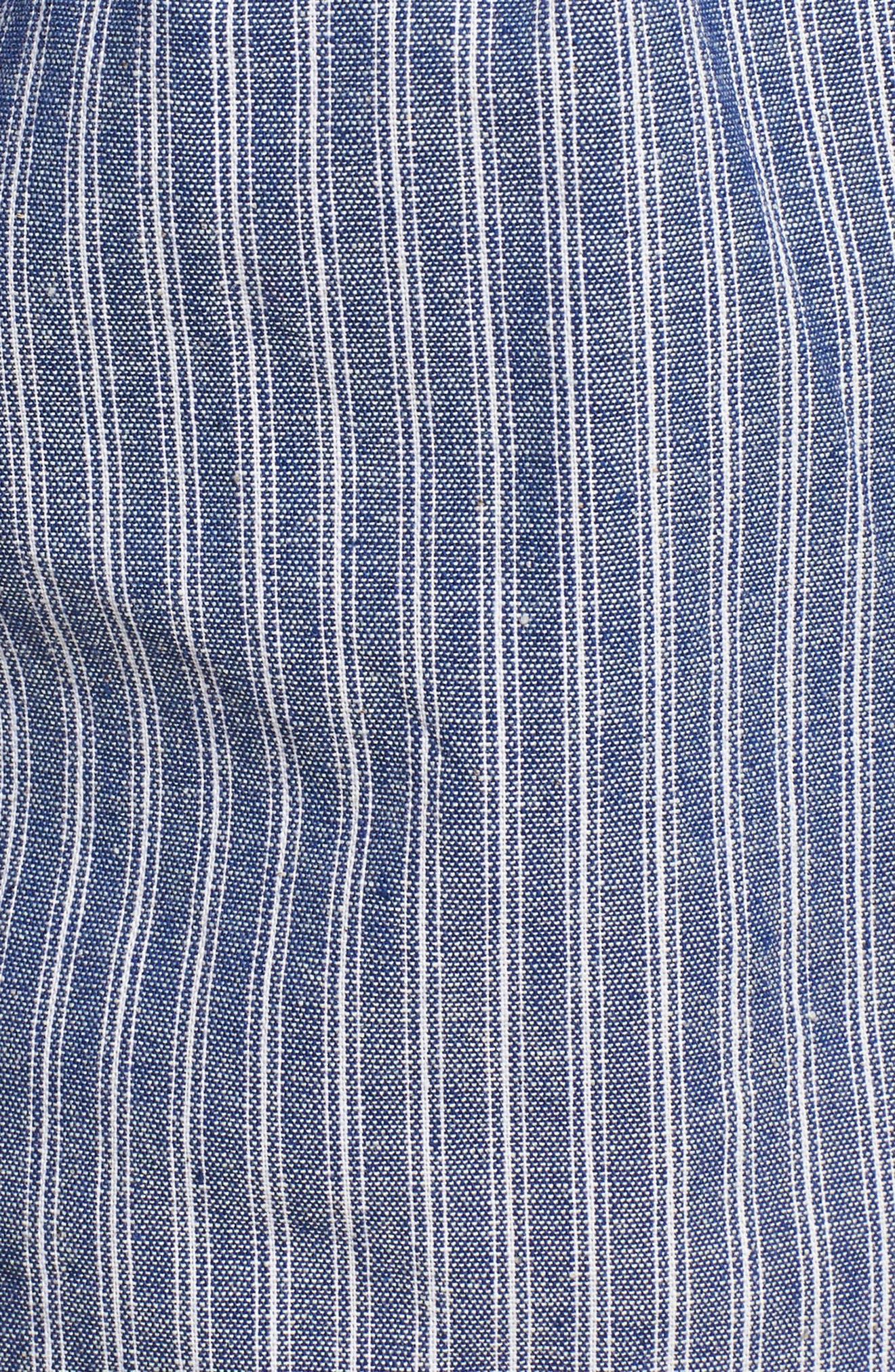Paperbag Waist Stripe Shorts,                             Alternate thumbnail 5, color,                             Chambray Blue