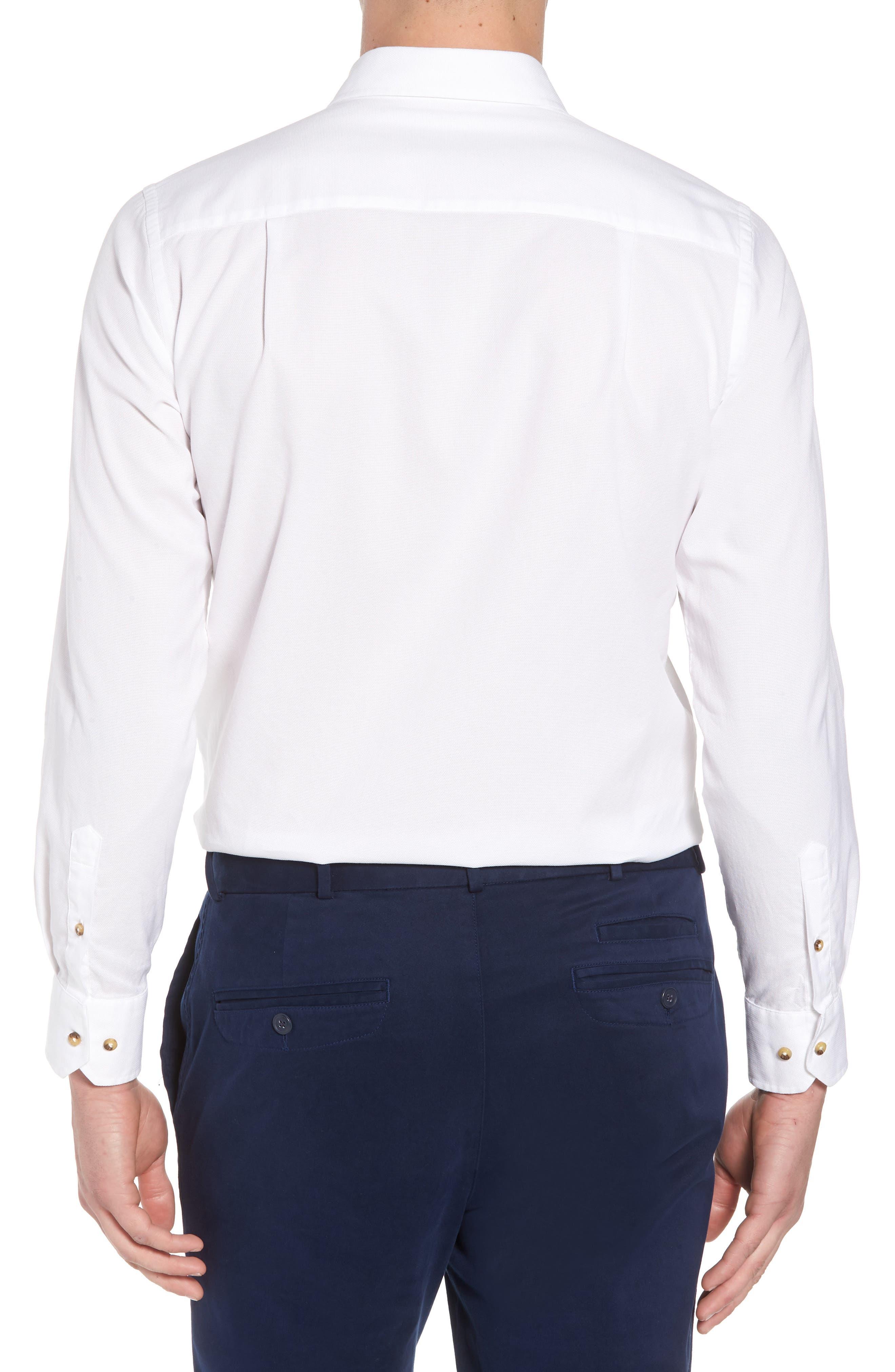 Regular Fit Garment Washed Sport Shirt,                             Alternate thumbnail 2, color,                             White
