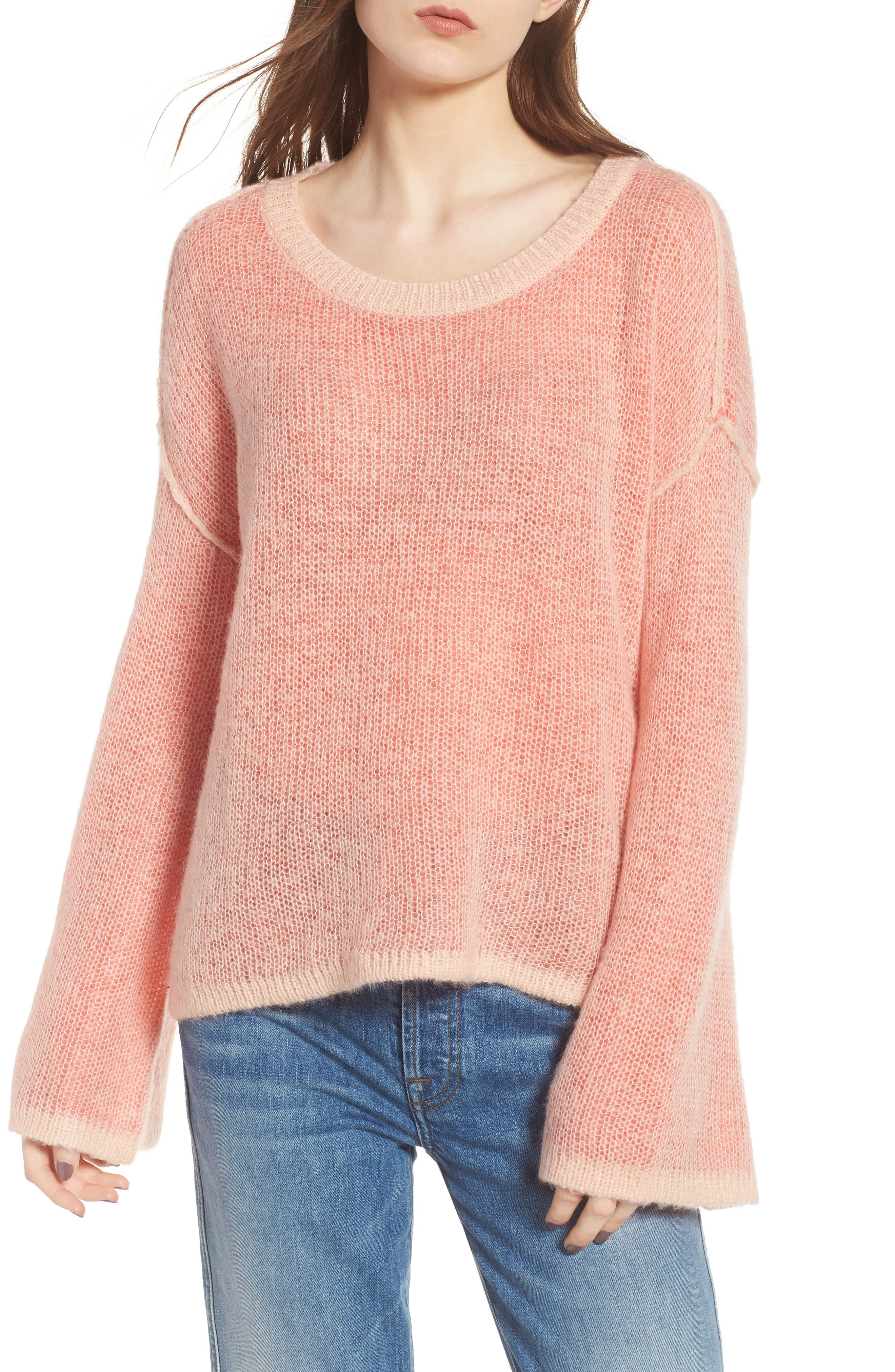 Bell Sleeve Sweater,                         Main,                         color, Pink