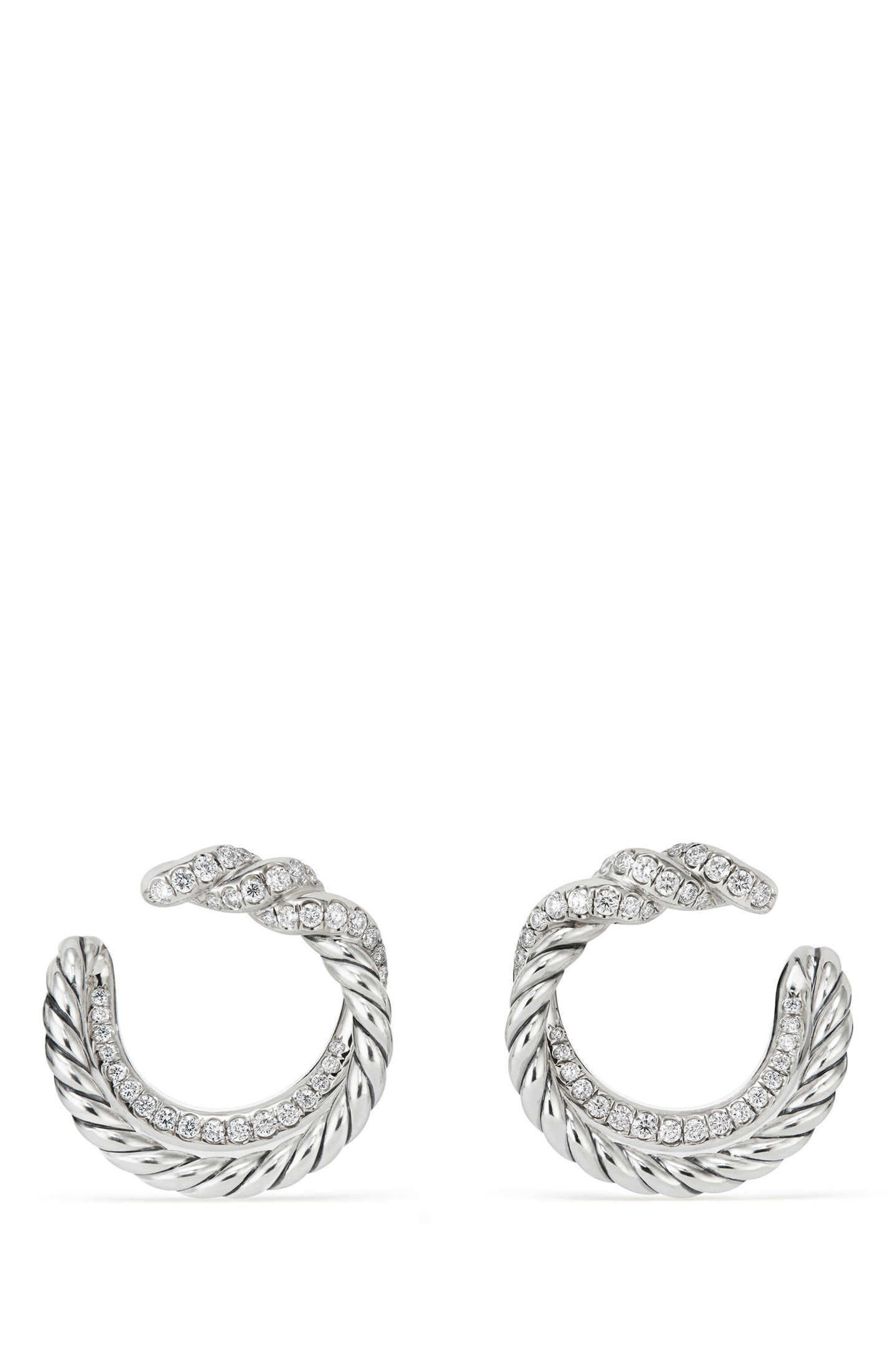 Continuance Hoop Earrings with Diamonds,                             Main thumbnail 1, color,                             Silver/ Diamond