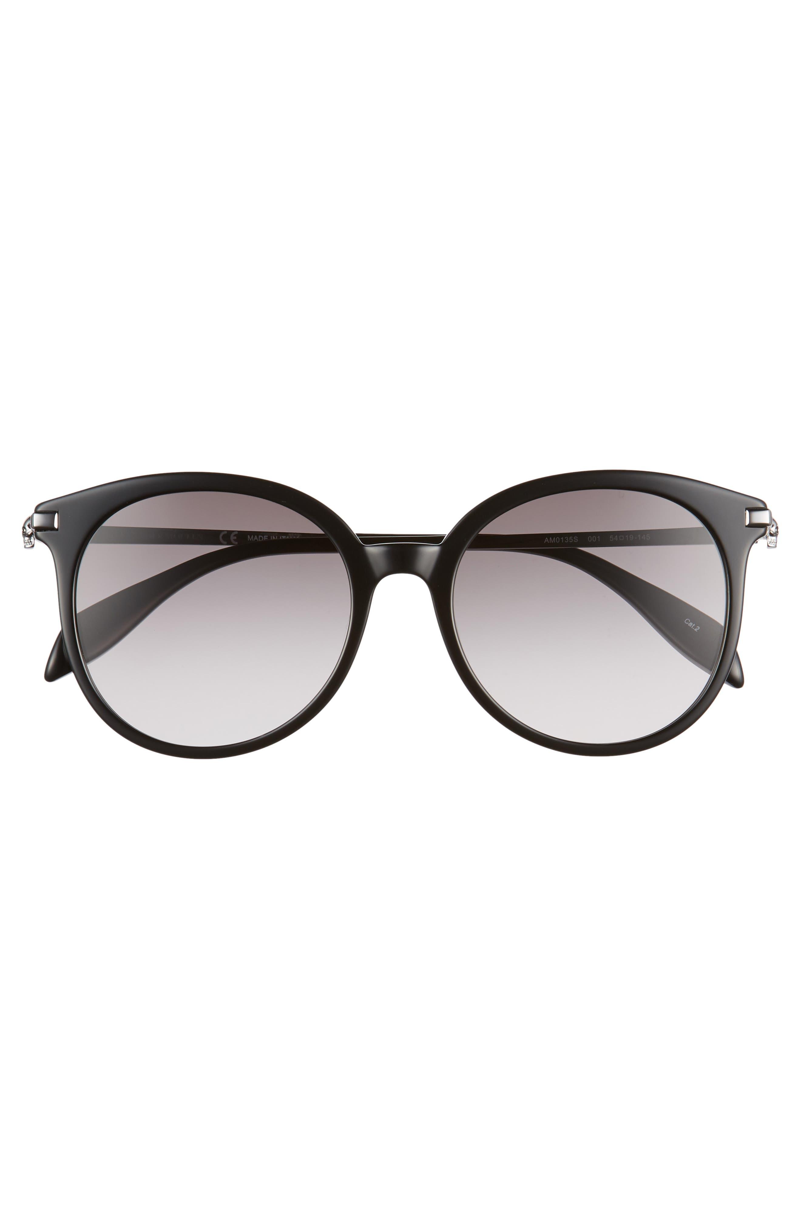 54mm Gradient Lens Round Sunglasses,                             Alternate thumbnail 3, color,                             Dark Ruthenium/ Black