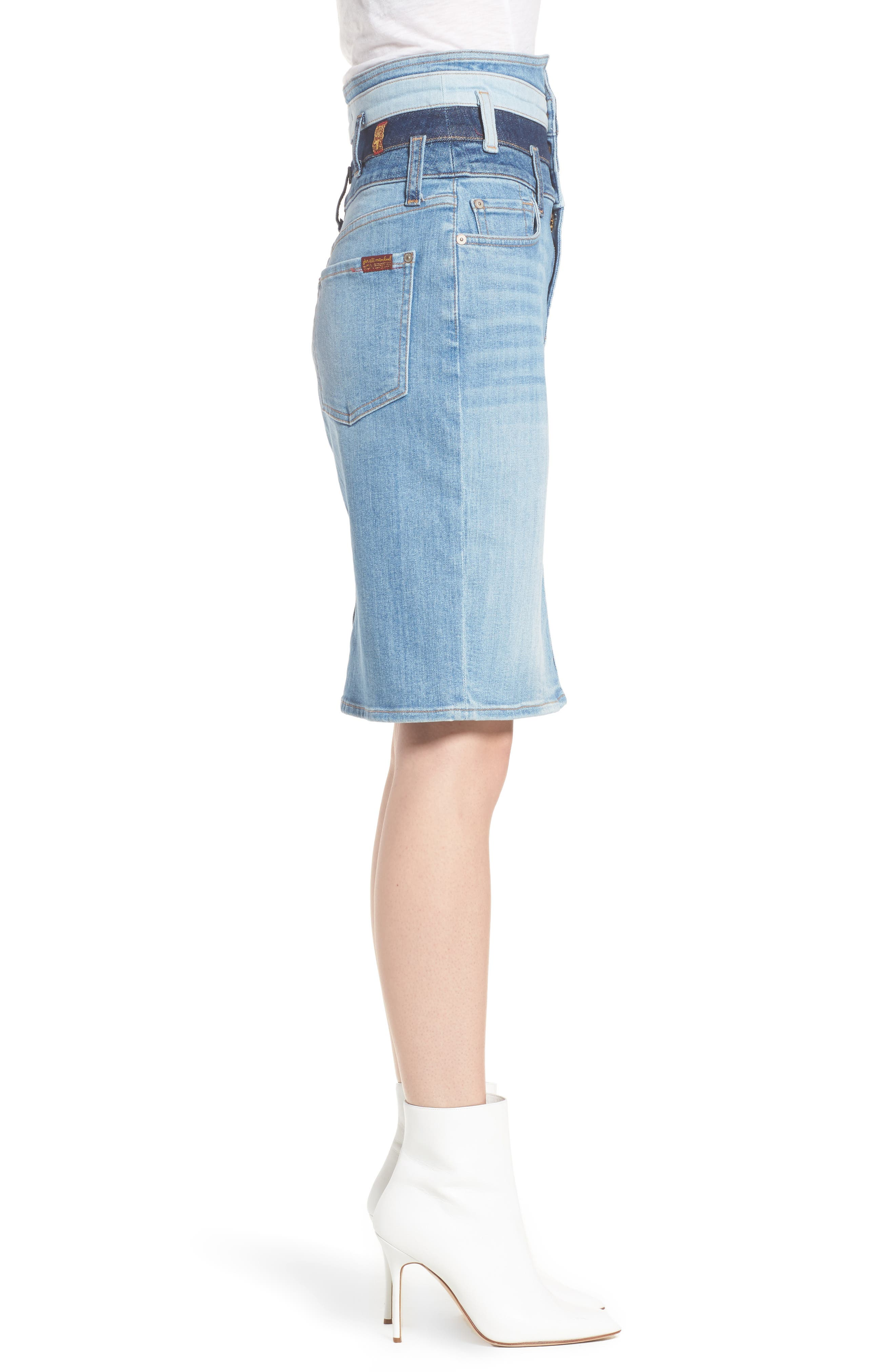 Patchwork Denim Skirt,                             Alternate thumbnail 3, color,                             Patchwork Found 5