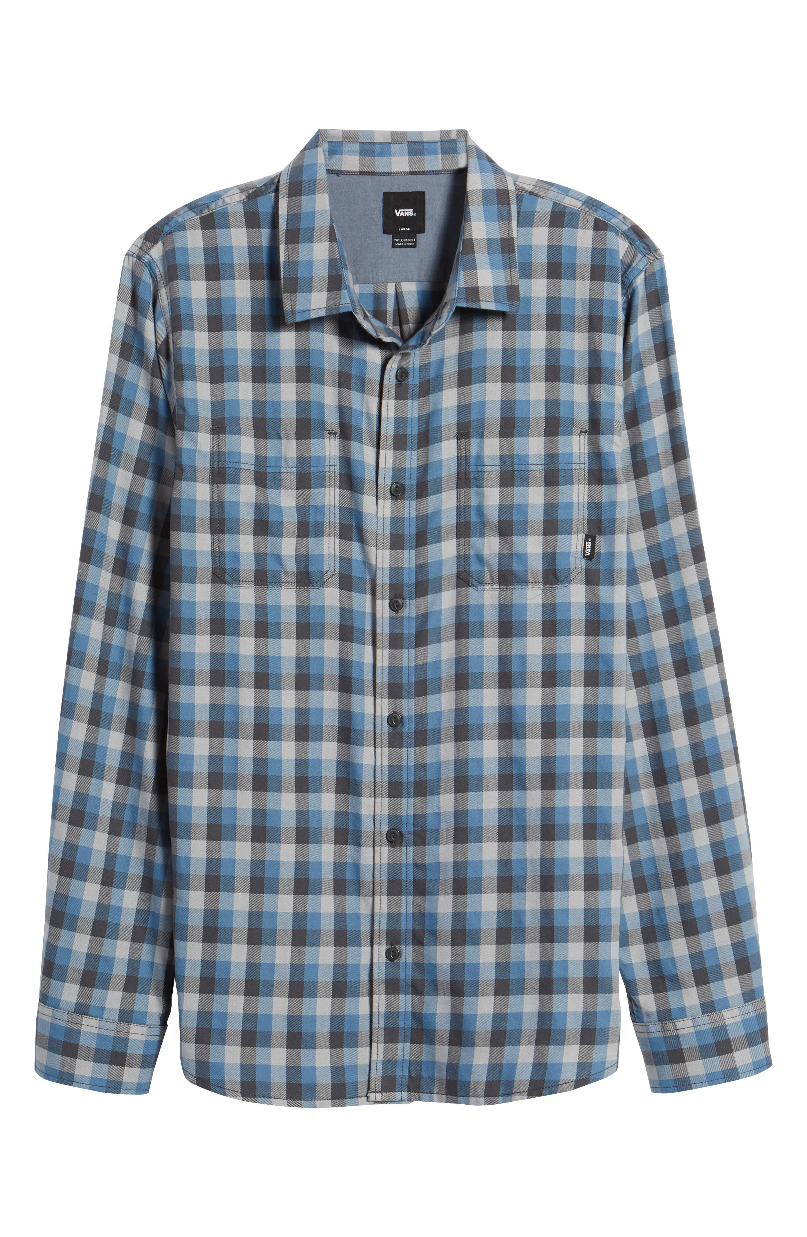 Alameda II Plaid Flannel Shirt,                             Alternate thumbnail 6, color,                             Asphalt/ Copen Blue