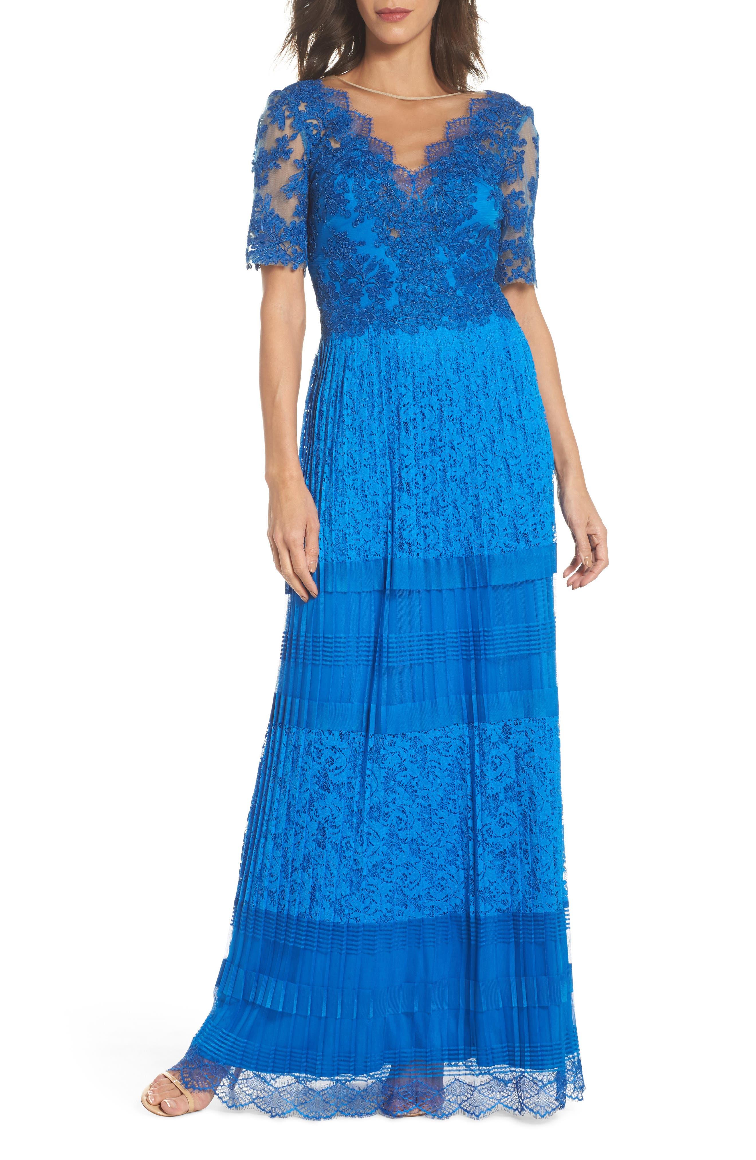 Pleat Lace Gown,                             Main thumbnail 1, color,                             Azure