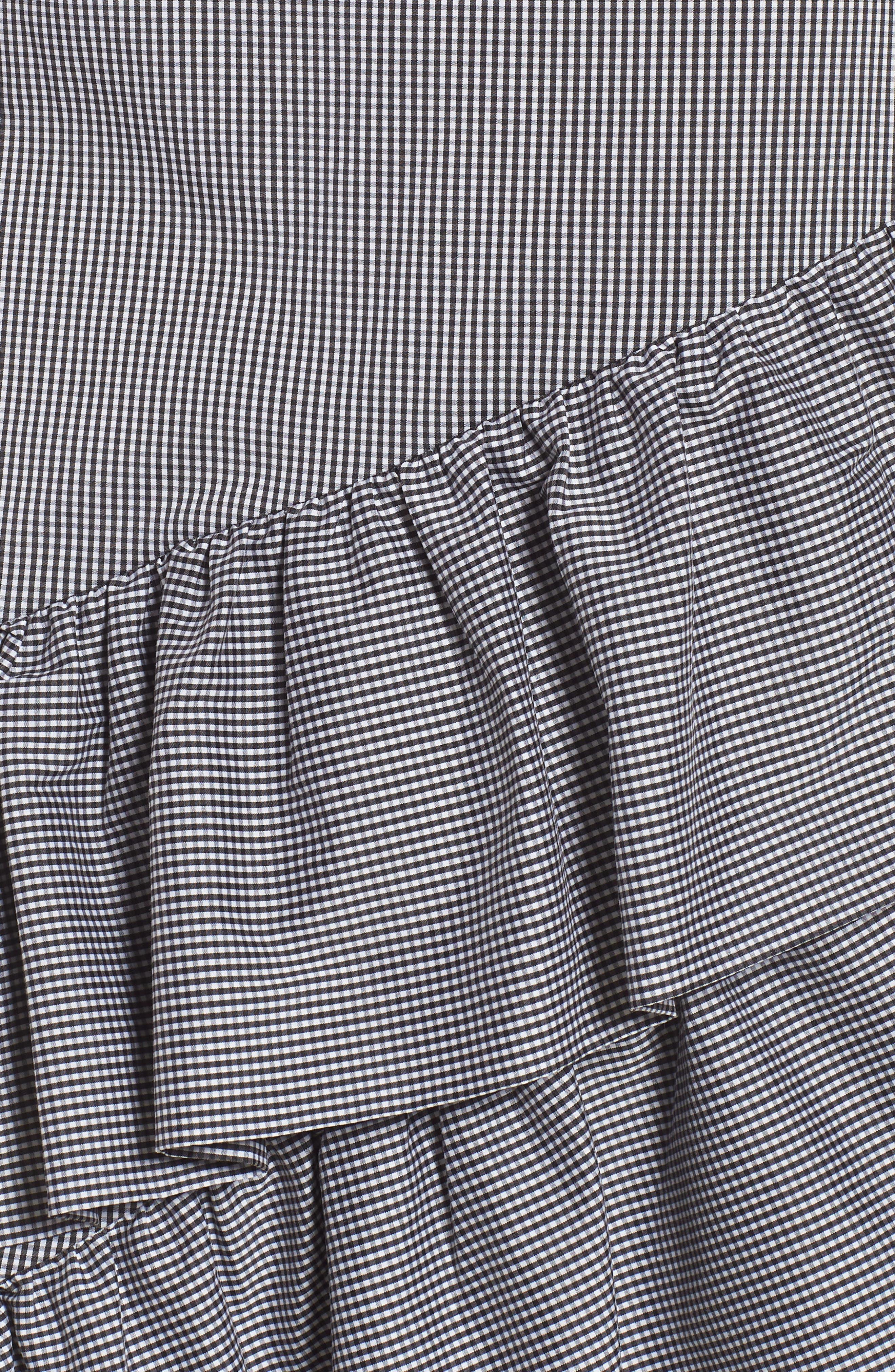 Gingham Ruffle Skirt,                             Alternate thumbnail 5, color,                             Black- White Mini Gingham
