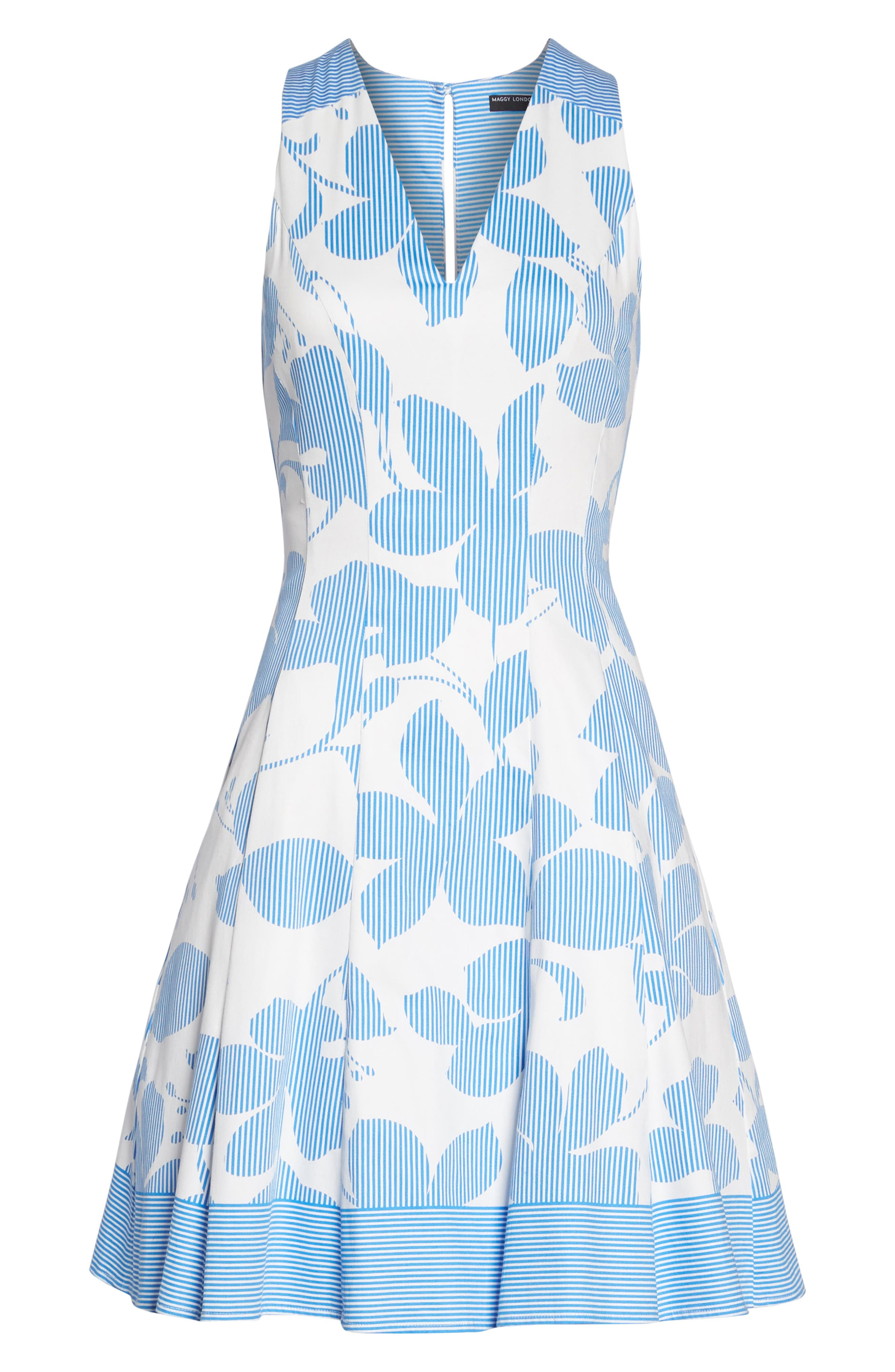 Print Fit & Flare Dress,                             Alternate thumbnail 7, color,                             Soft White/ Sky Blue