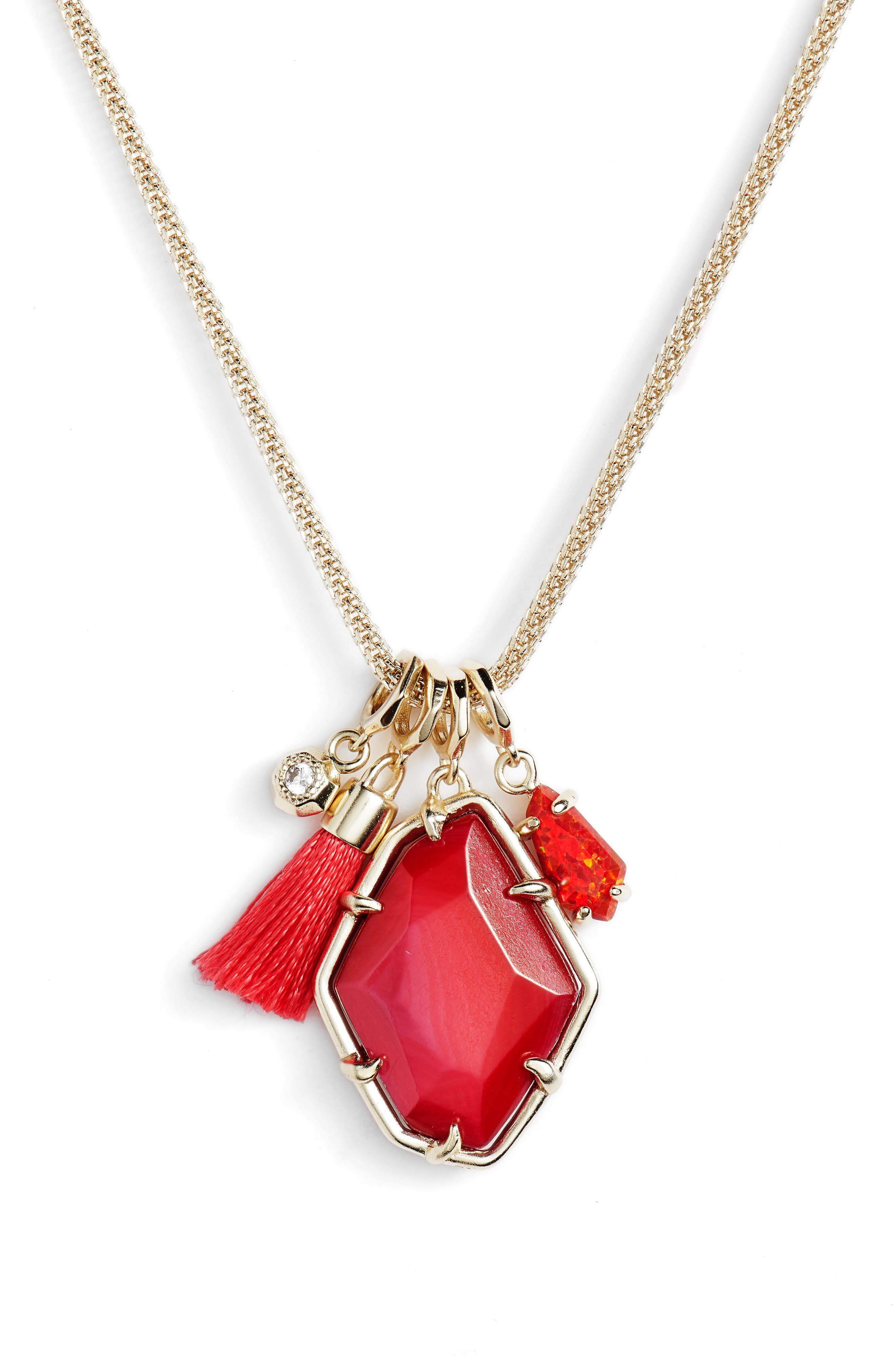 Hailey Necklace,                             Main thumbnail 1, color,                             Red Mop/ Gold