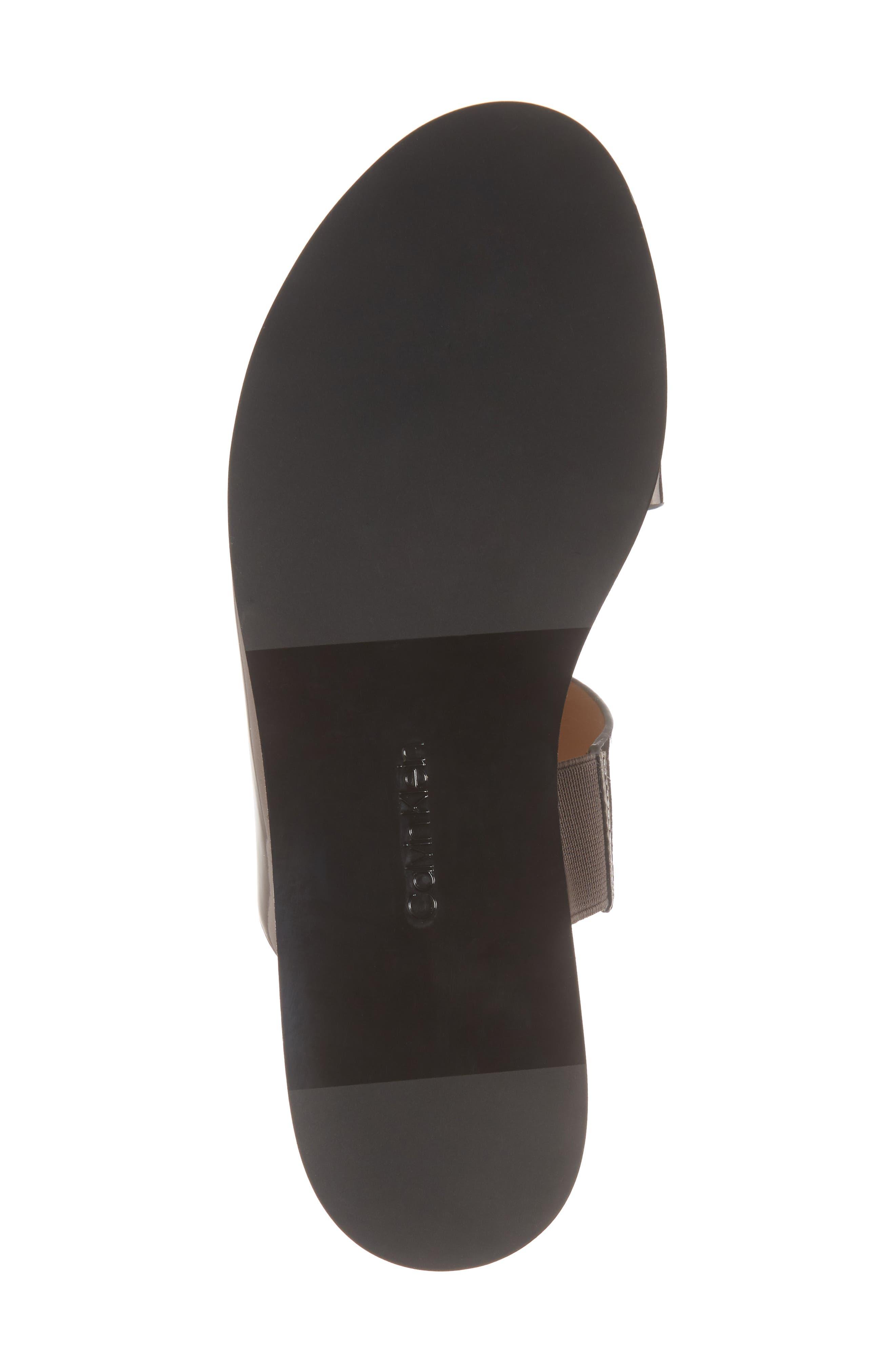 Posey Slide Sandal,                             Alternate thumbnail 6, color,                             Pewter Leather