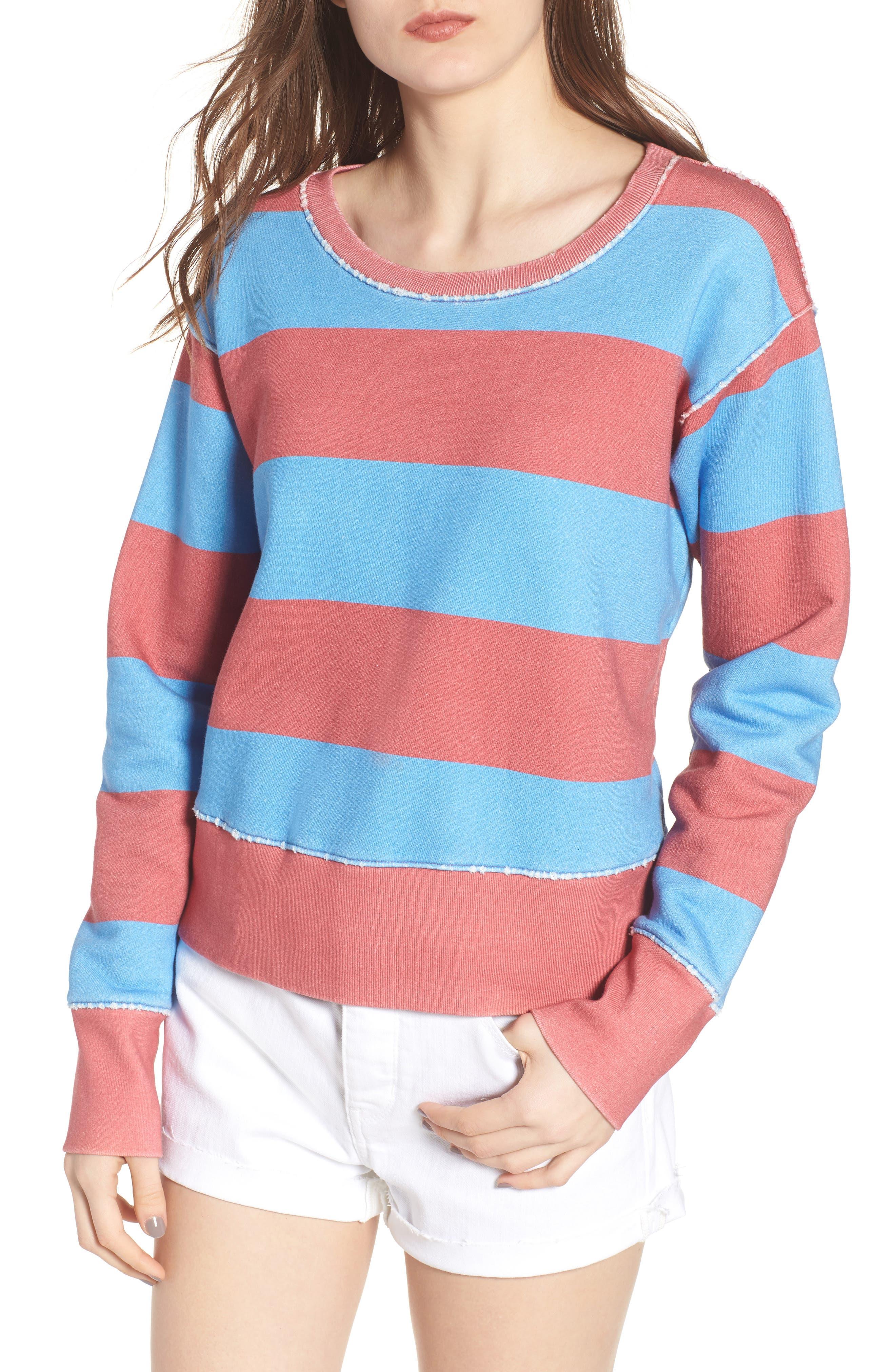 Stripe Crewneck Sweatshirt,                         Main,                         color, Red Rugby 5 Vintage Year Wash