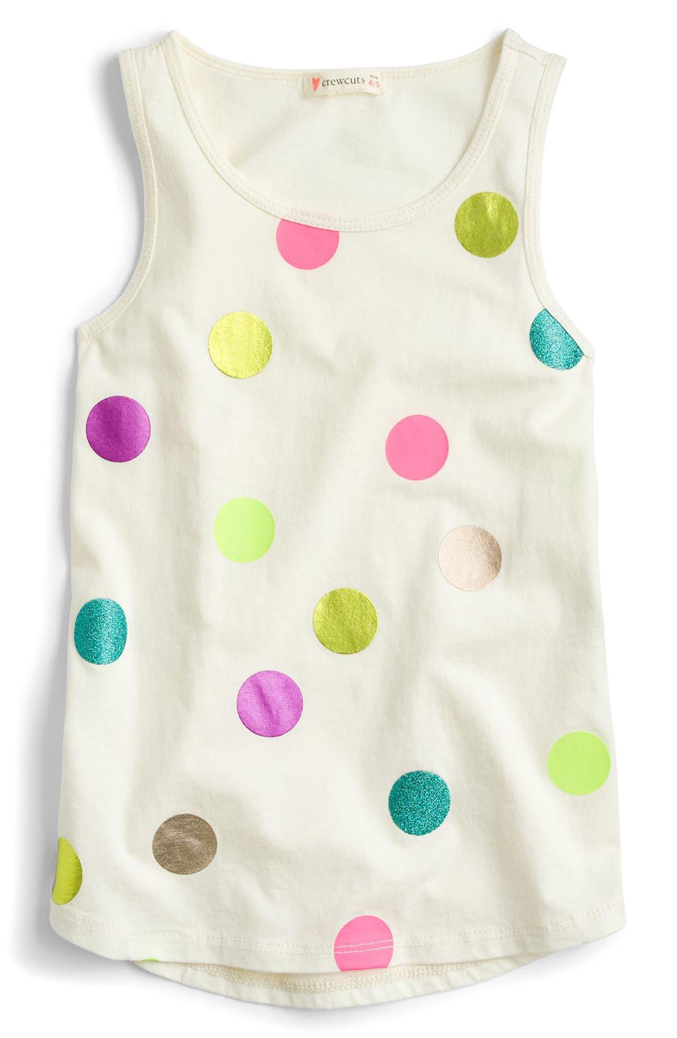 Polka Dot Tank Top,                             Main thumbnail 1, color,                             Ivory Multi