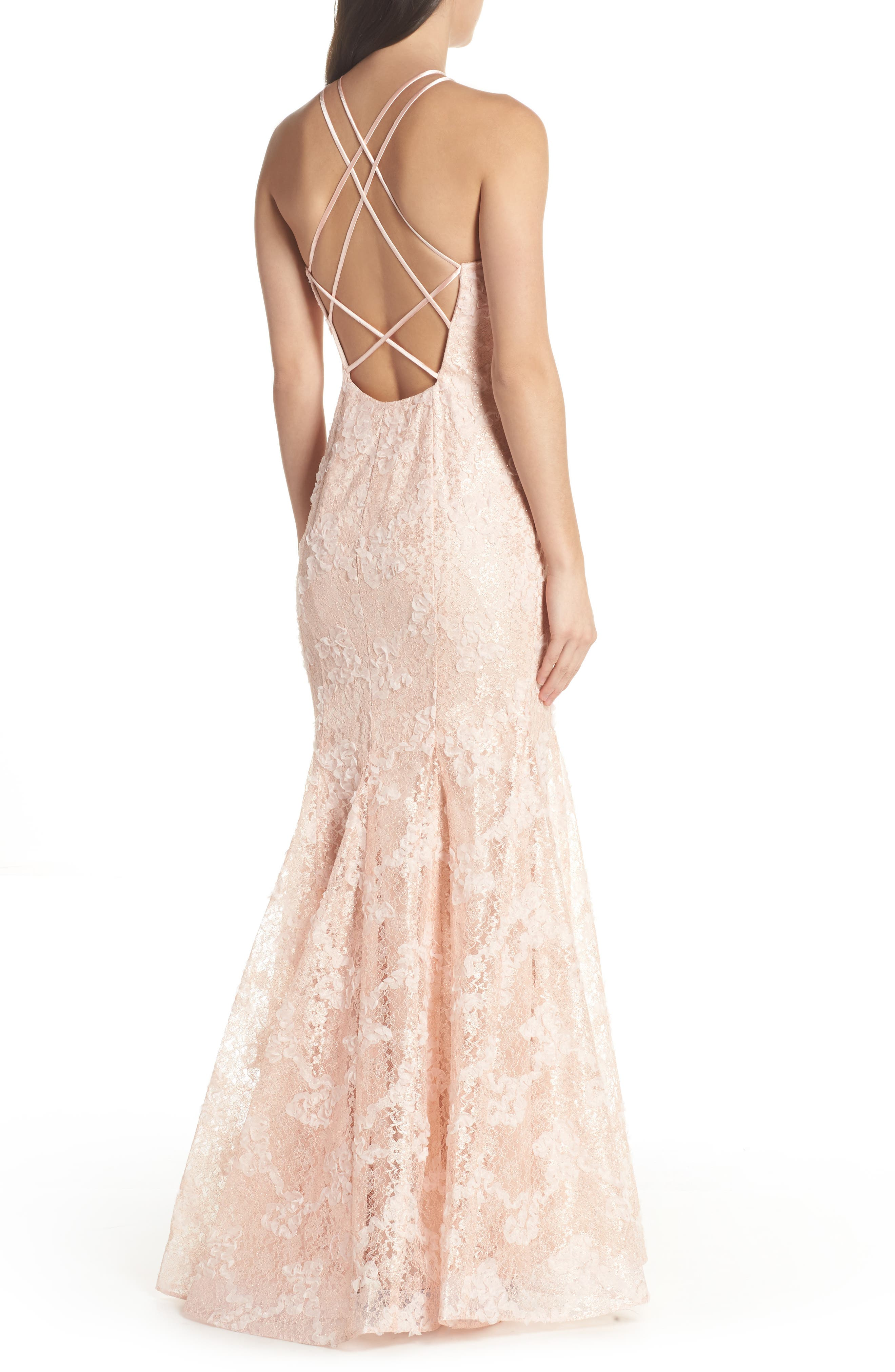 Ruched Lace Halter Mermaid Gown,                             Alternate thumbnail 2, color,                             Blush