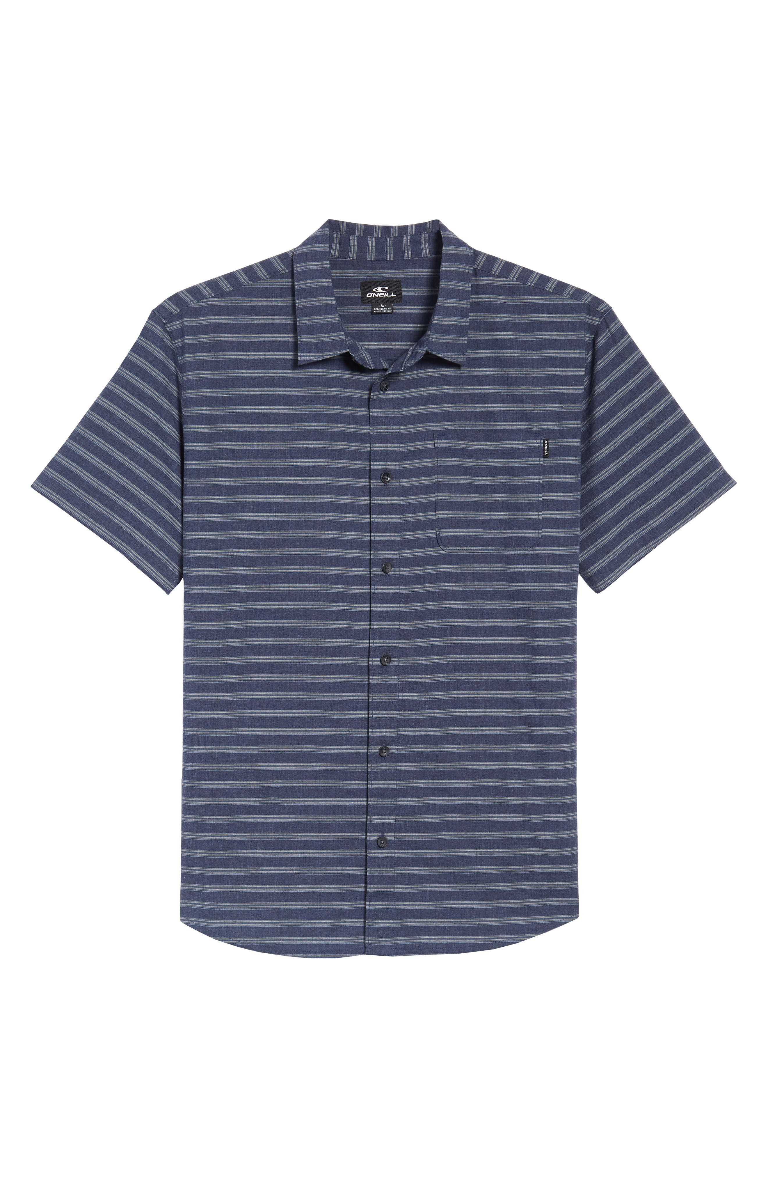 Stag Short Sleeve Shirt,                             Alternate thumbnail 6, color,                             Navy