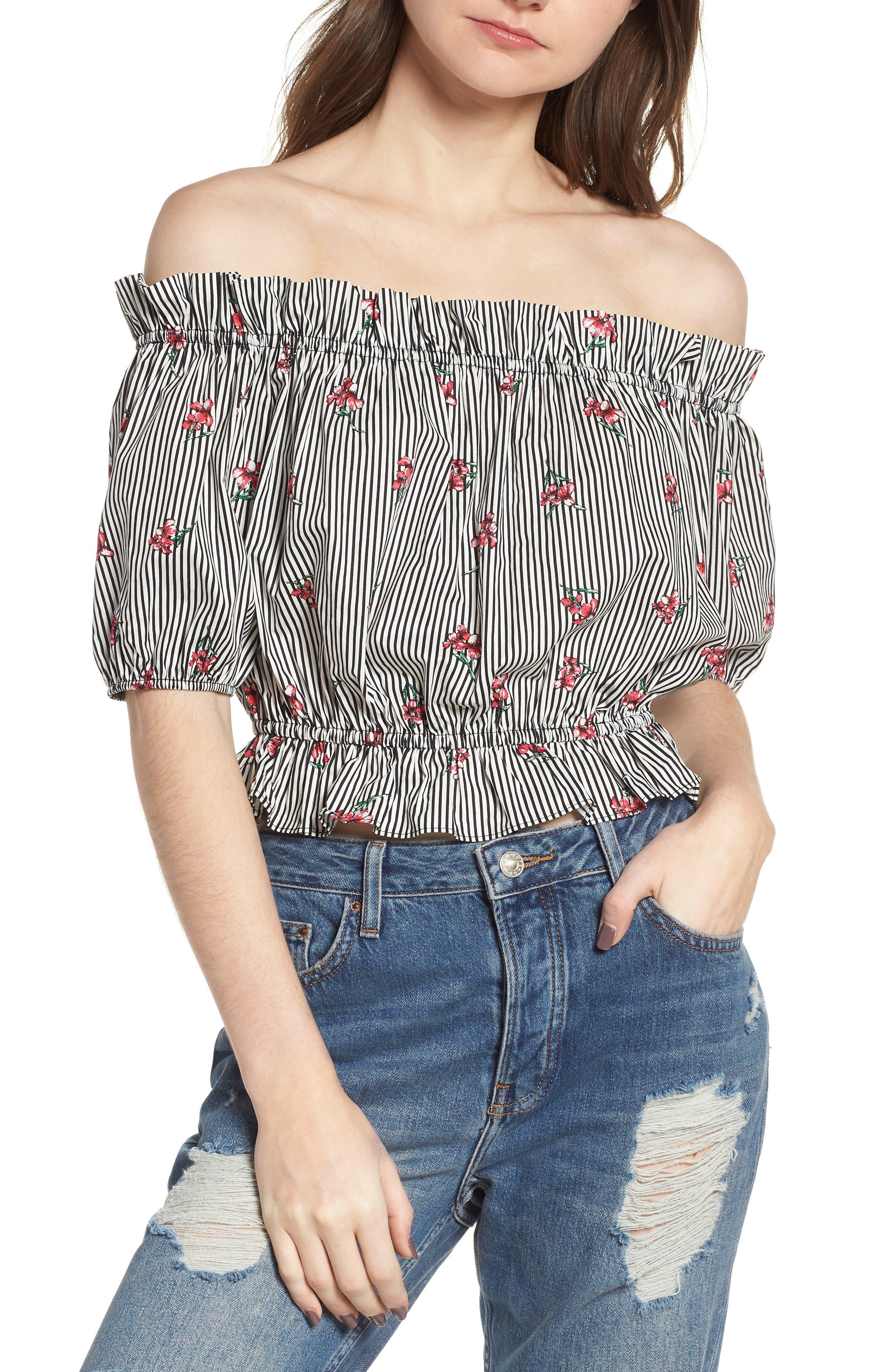 Soprano Floral Stripe Off the Shoulder Crop Top
