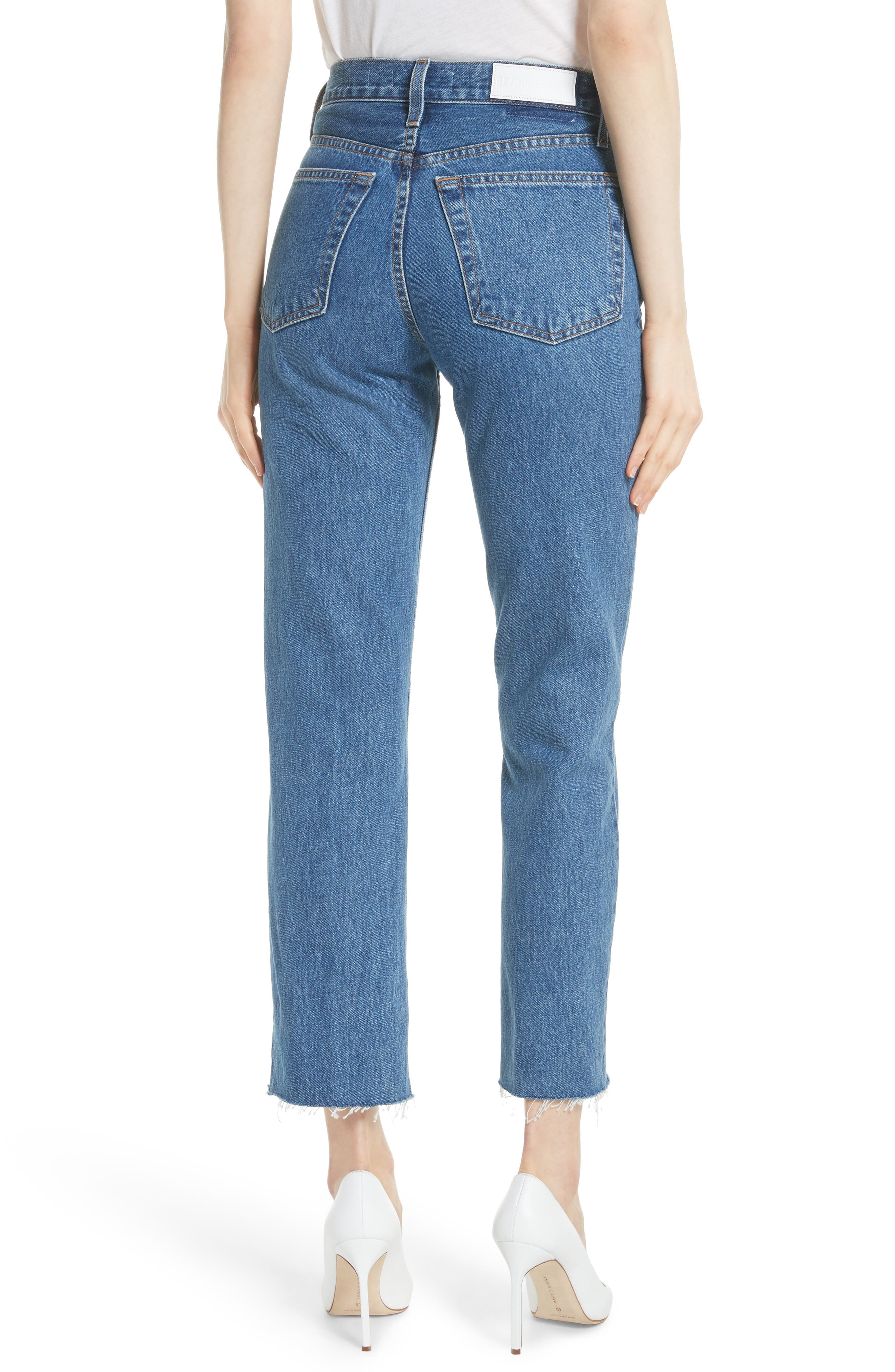 High Waist Stove Pipe Jeans,                             Alternate thumbnail 2, color,                             Med Vain