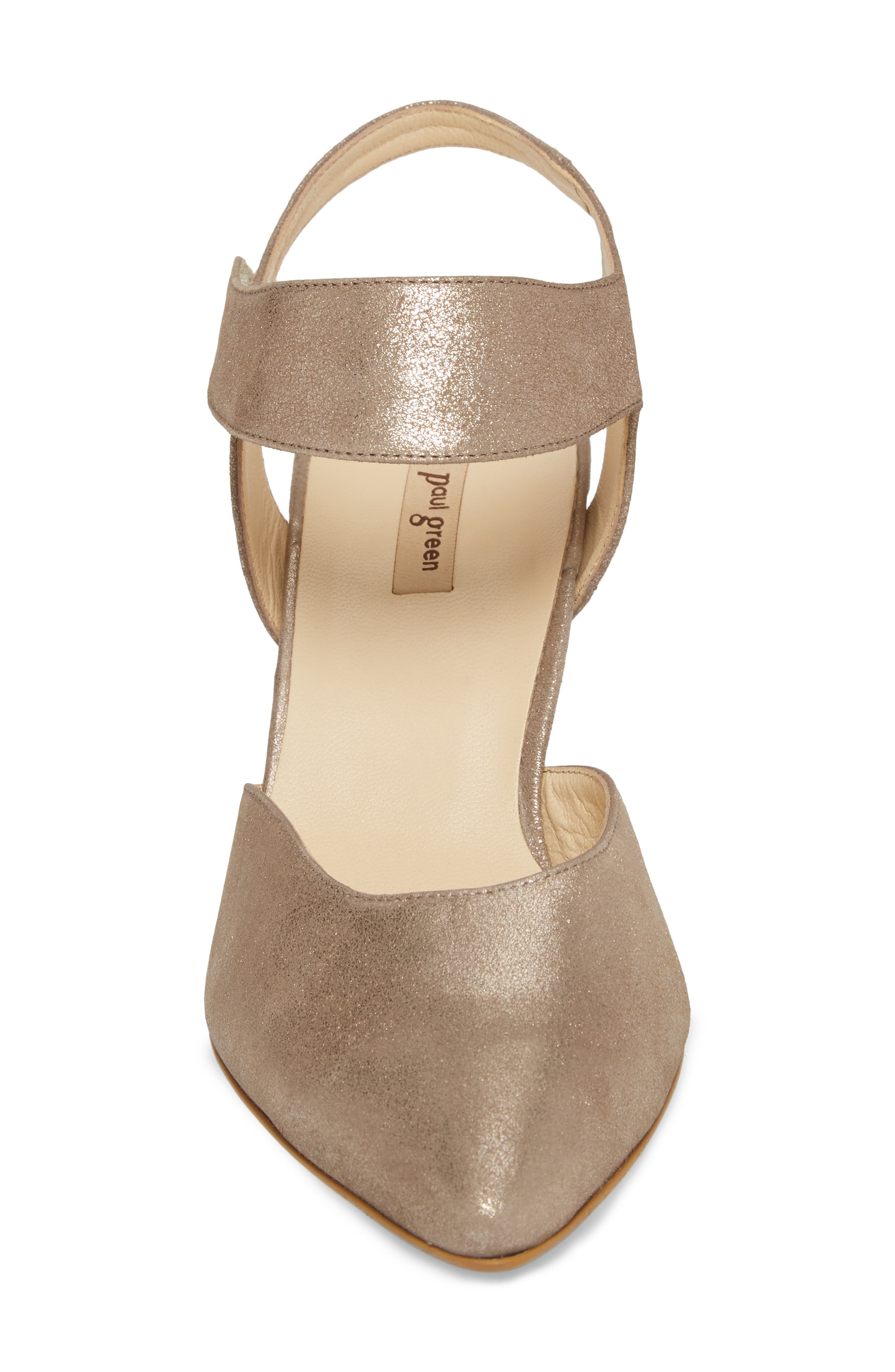 Nicolette Pointy Toe Pump,                             Alternate thumbnail 4, color,                             Champagne Metallic