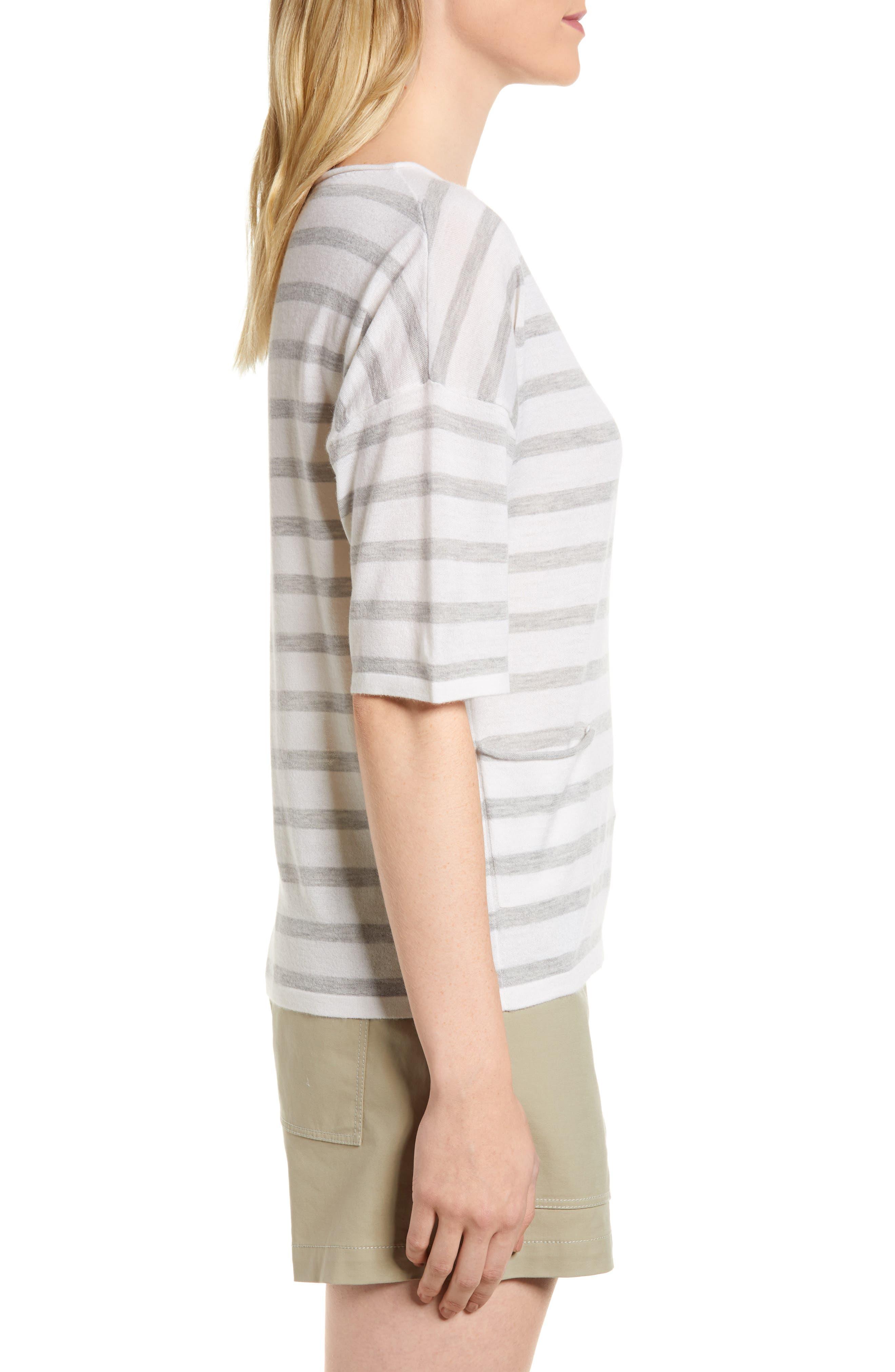 Stripe Cashmere Sweater,                             Alternate thumbnail 3, color,                             Ivory- Grey Heather Stripe