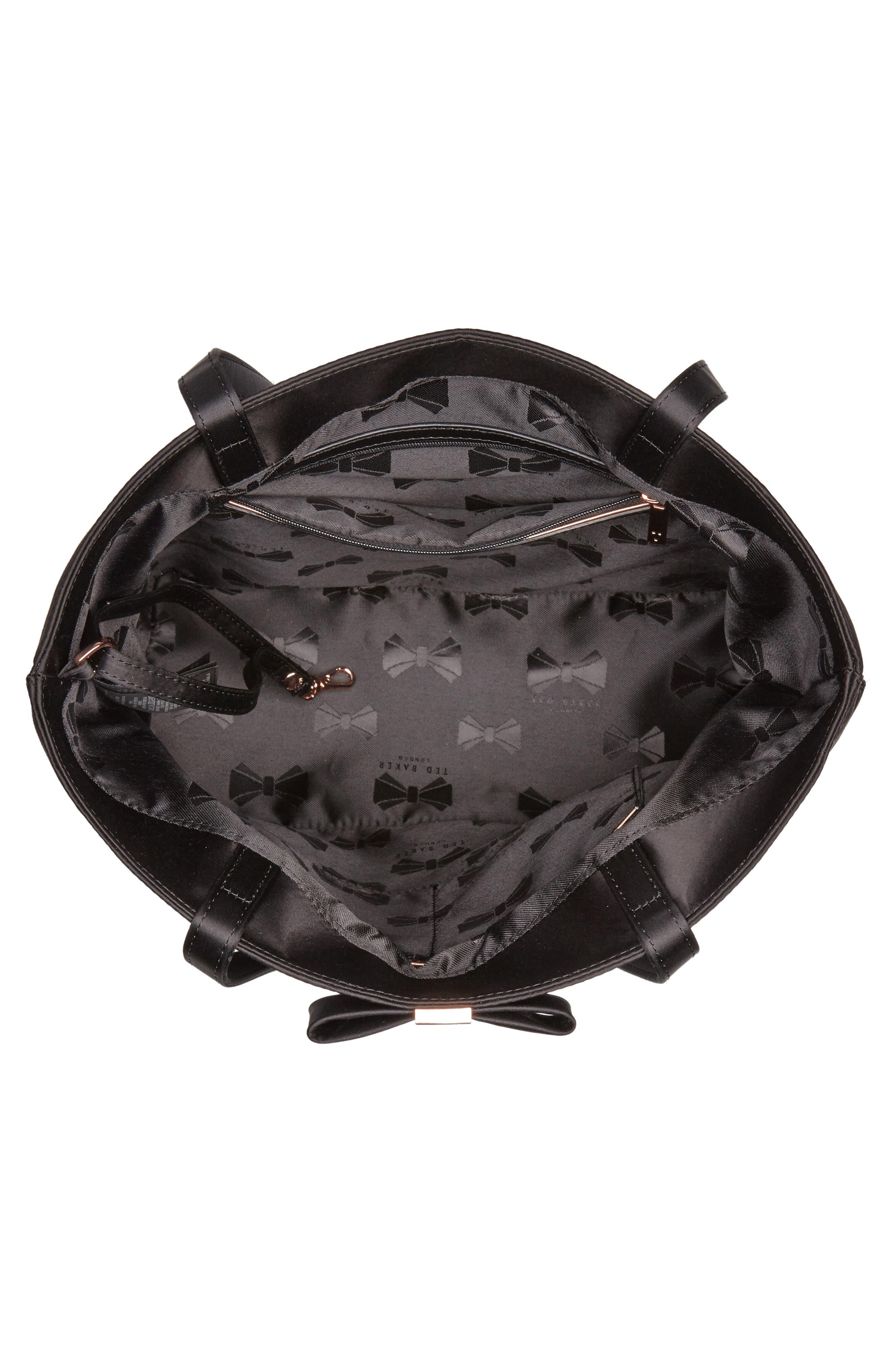 Abila Bow Detail Satin Shopper,                             Alternate thumbnail 4, color,                             Black