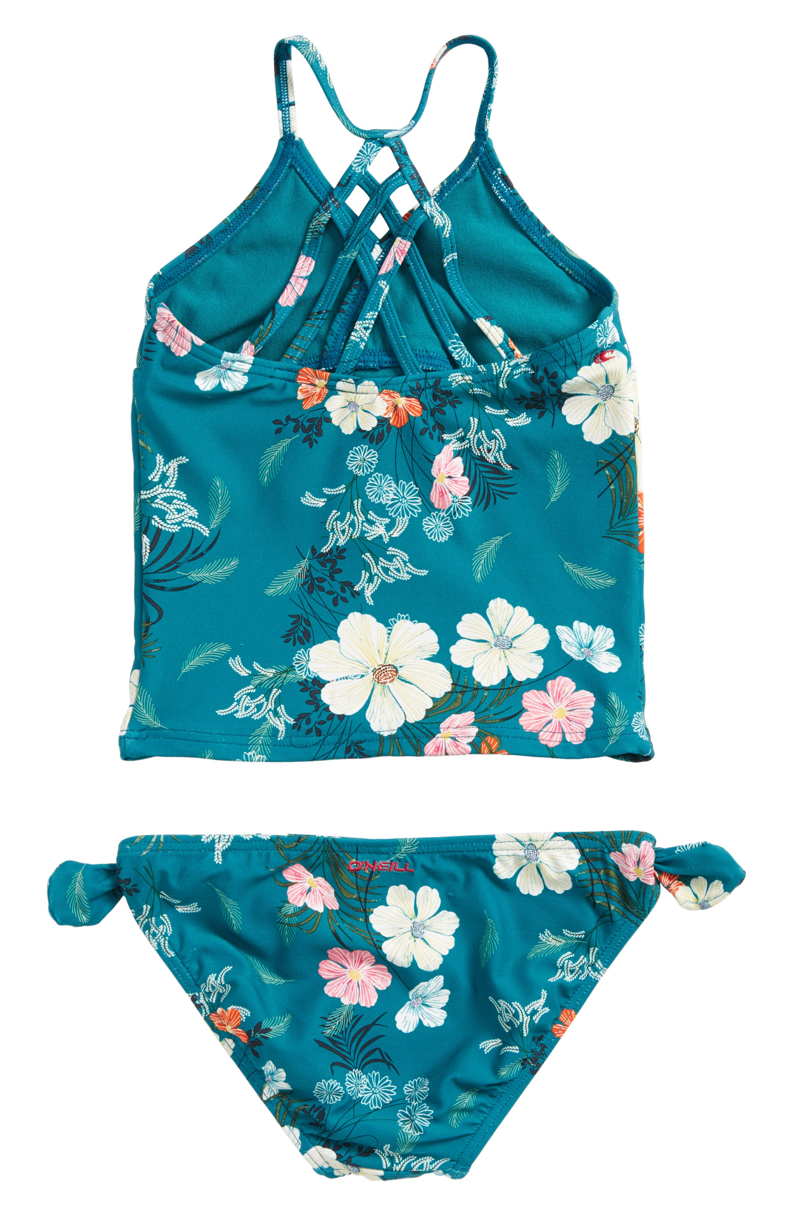 Lucy Floral Two-Piece Swimsuit,                             Alternate thumbnail 2, color,                             Island Turquoise