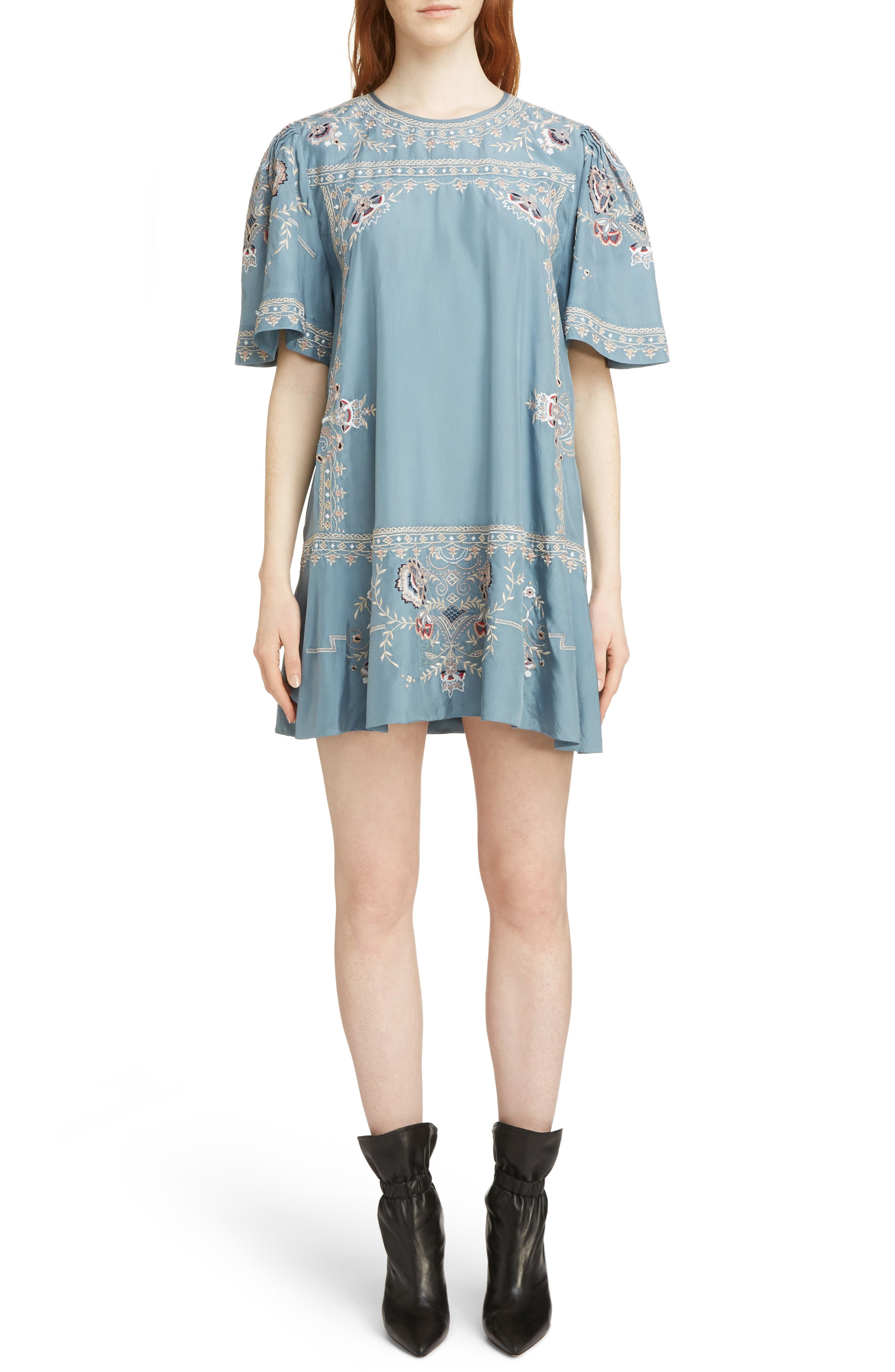SHORT-SLEEVE EMBROIDERED SILK MINI DRESS
